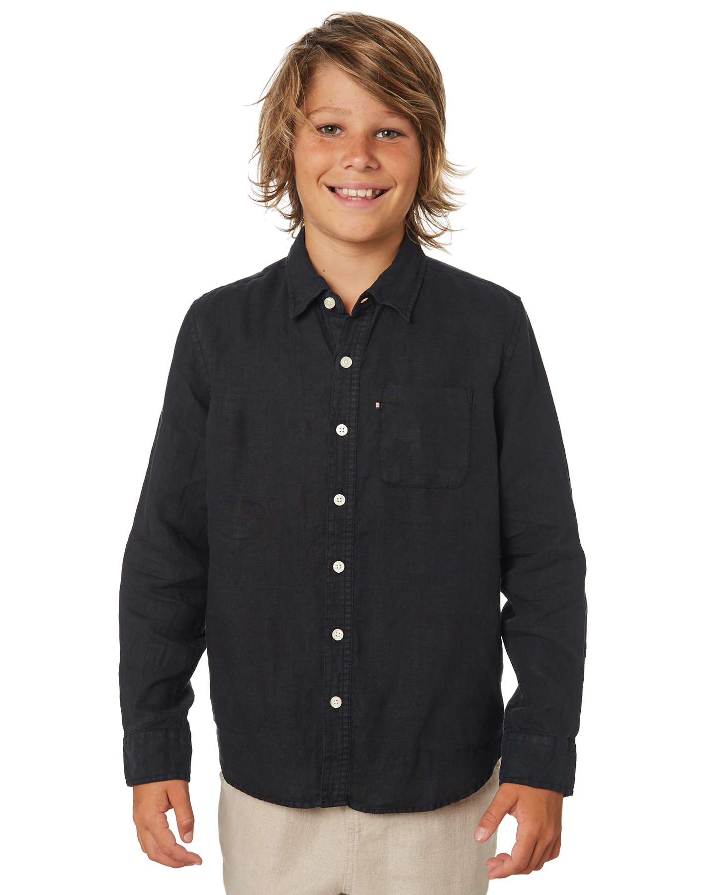 855c4ff3bd Details about New Academy Brand Boys Boys Hampton Linen Shirt - Teens Long  Sleeve Linen Black