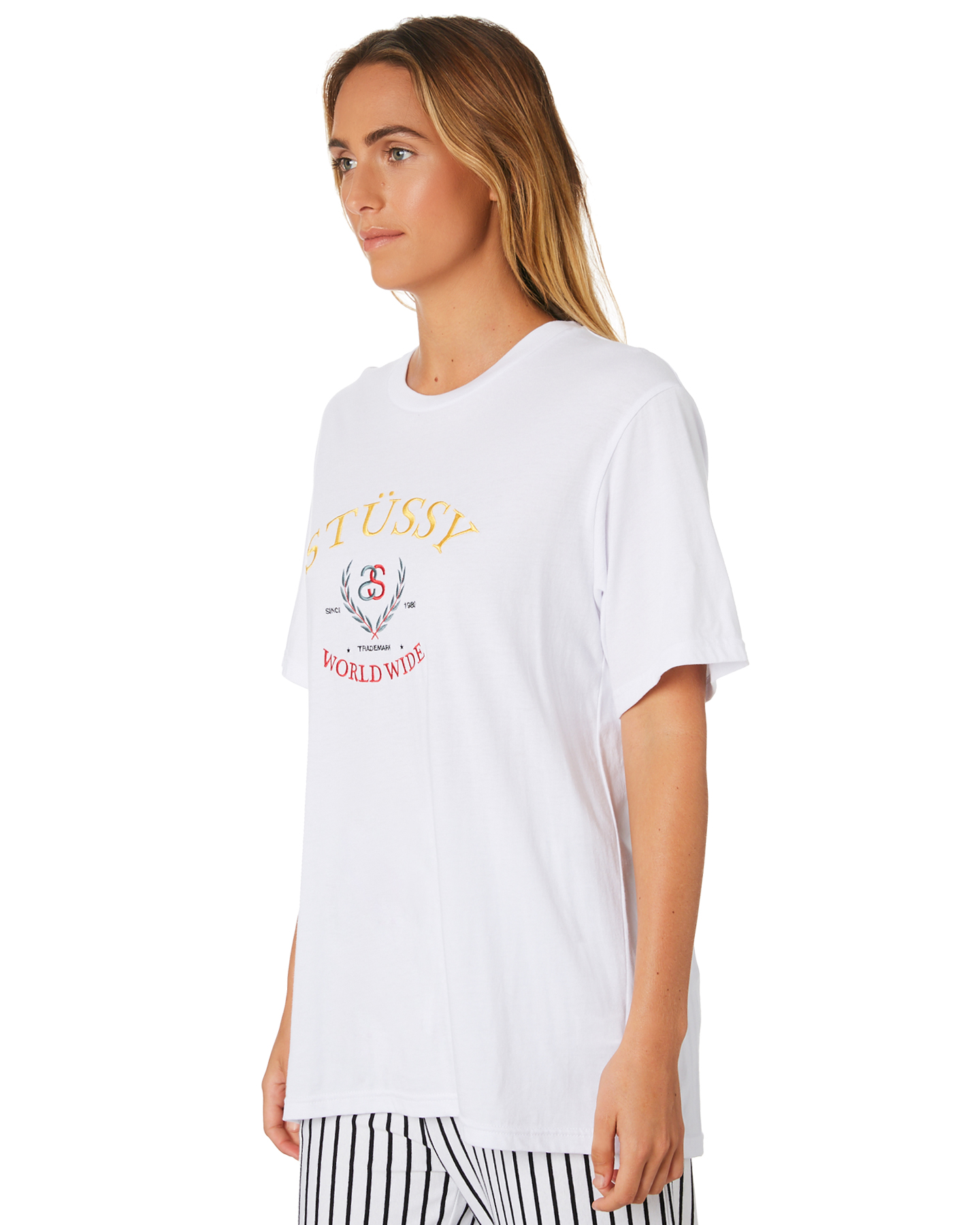 adc7250d973 New Stussy Women  039 s Benson Os Tee Crew Neck Short Sleeve Cotton ...