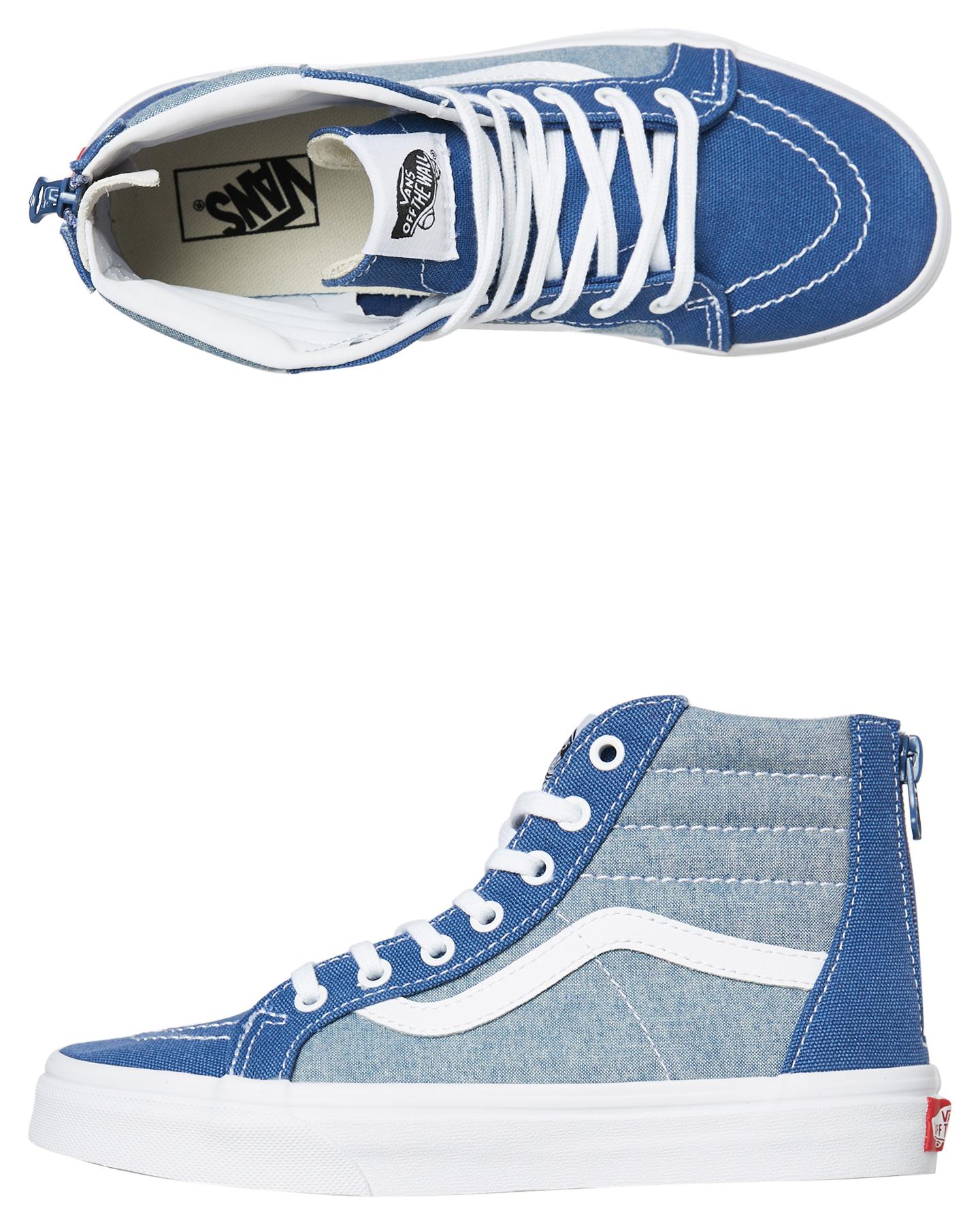 5af5003727 Details about Vans Boys Sk8 Hi Shoe - Teens Lace Canvas Blue