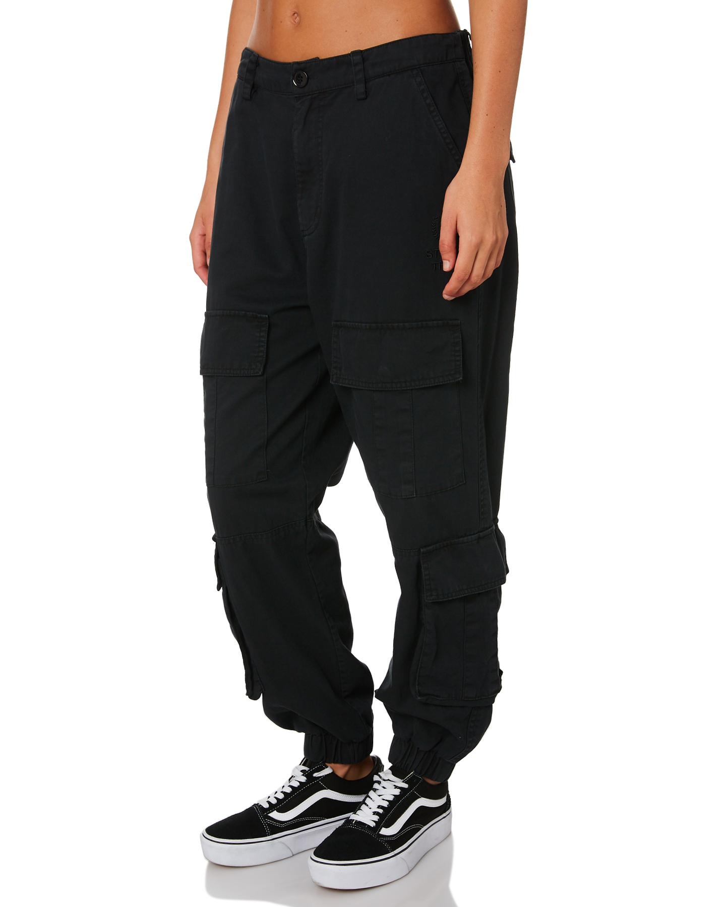 3fca99c2 Details about New Stussy Women's Hunt Cargo Pant Cotton Fitted Black
