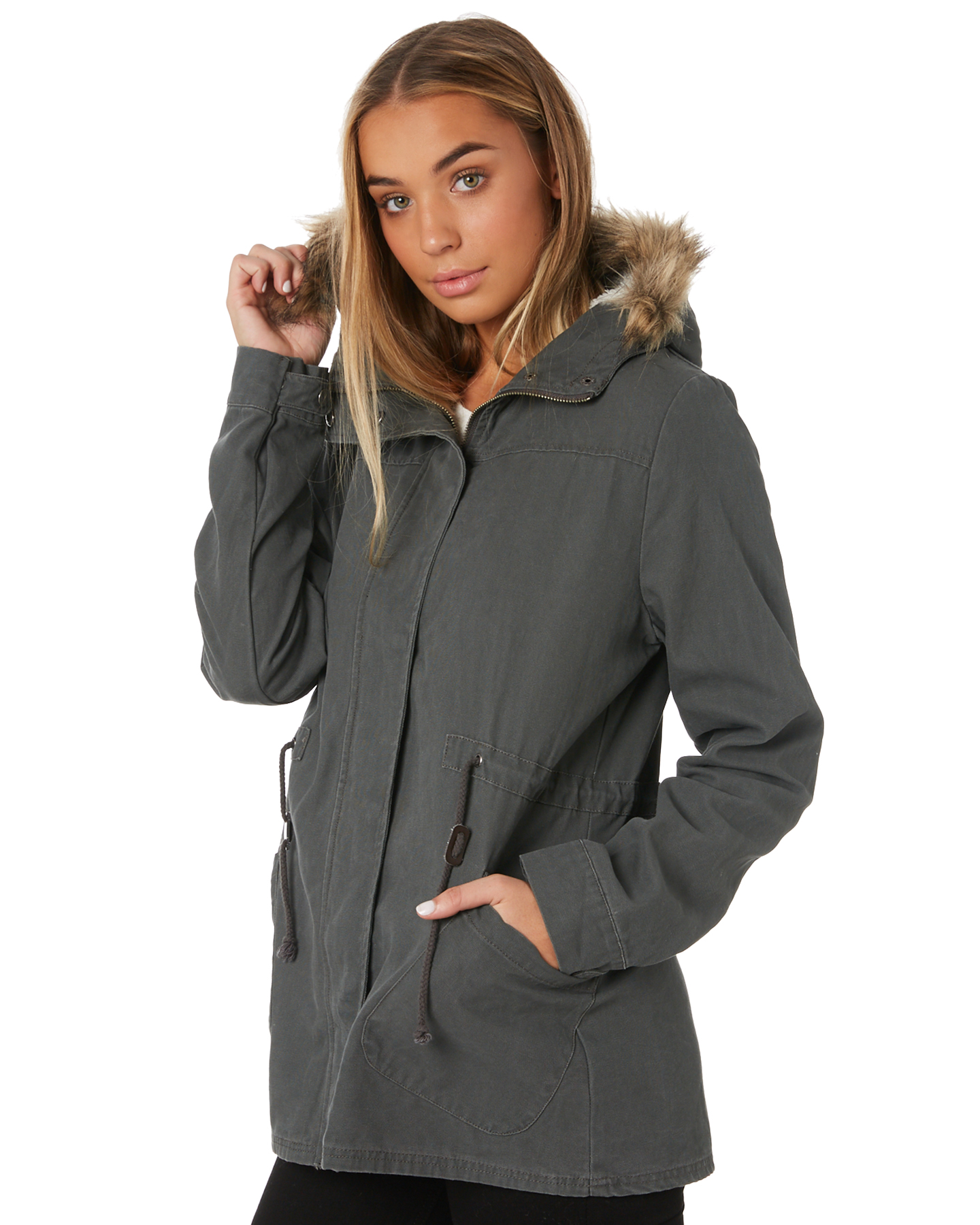 New-Swell-Women-039-s-Fleur-Hooded-Anorak-Cotton-Canvas-Grey thumbnail 7