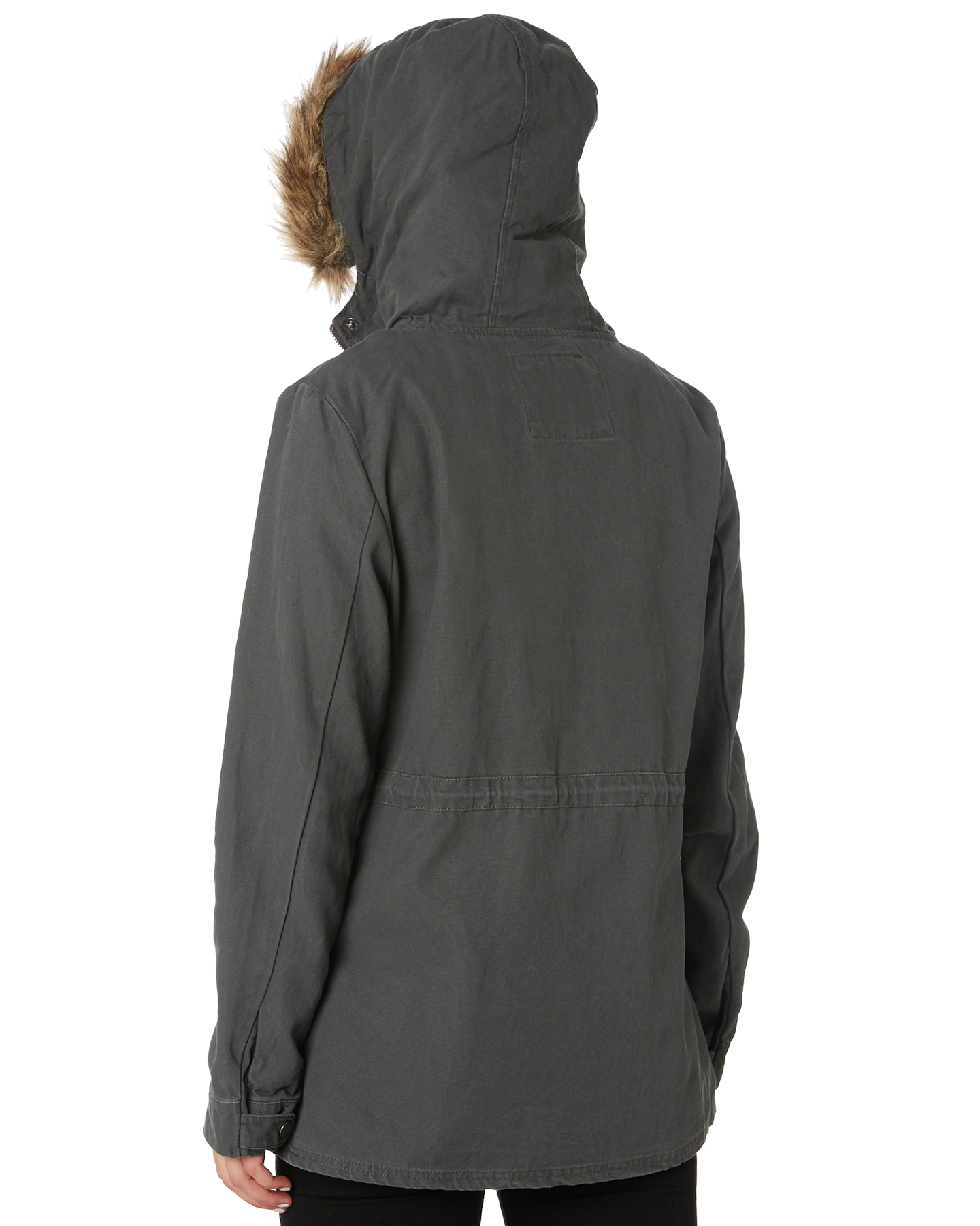 New-Swell-Women-039-s-Fleur-Hooded-Anorak-Cotton-Canvas-Grey thumbnail 8