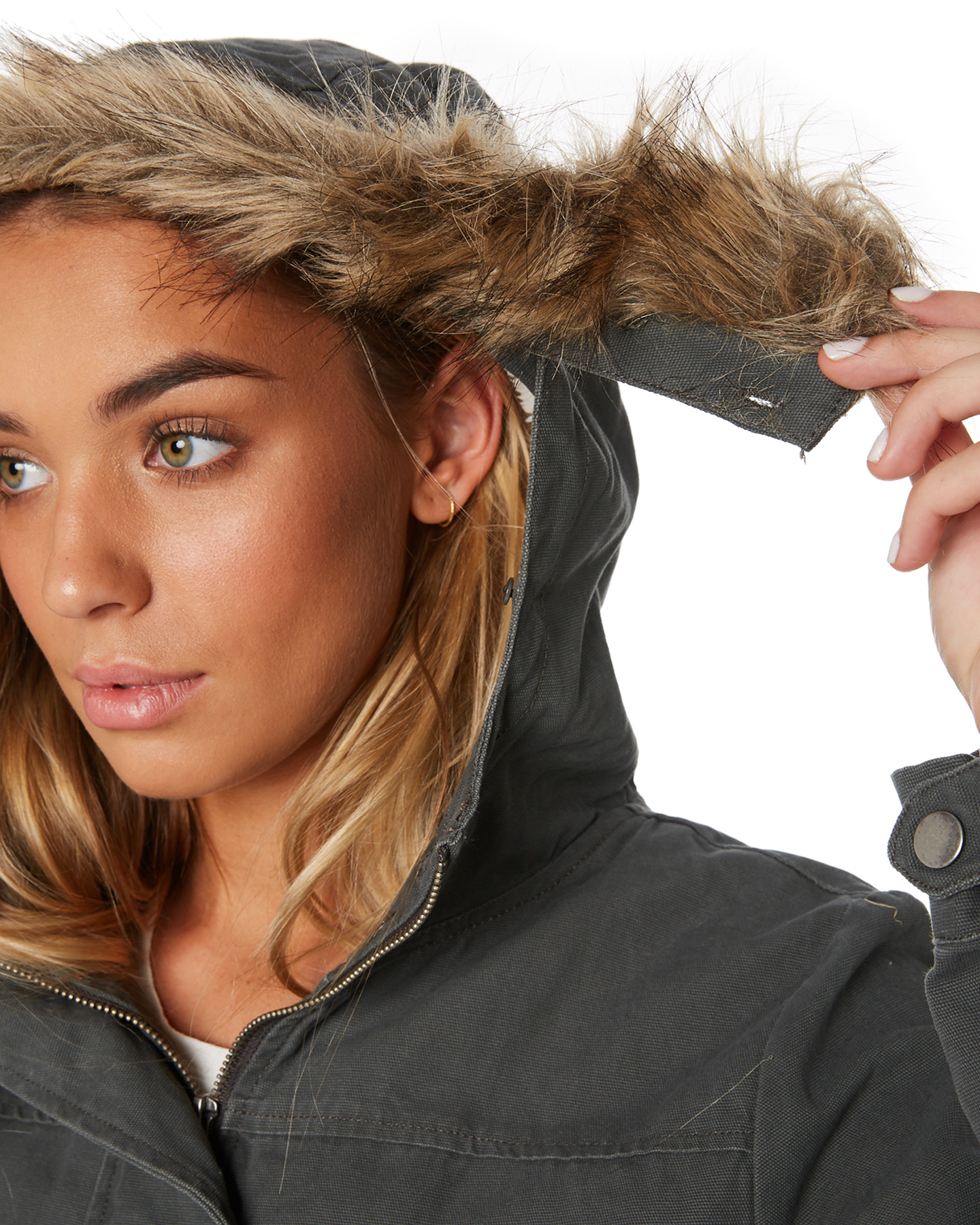 New-Swell-Women-039-s-Fleur-Hooded-Anorak-Cotton-Canvas-Grey thumbnail 9