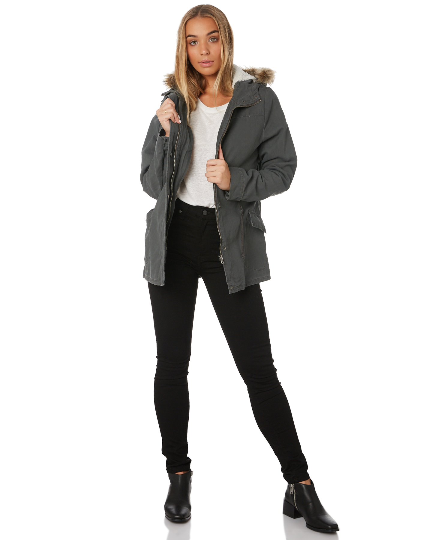 New-Swell-Women-039-s-Fleur-Hooded-Anorak-Cotton-Canvas-Grey thumbnail 10