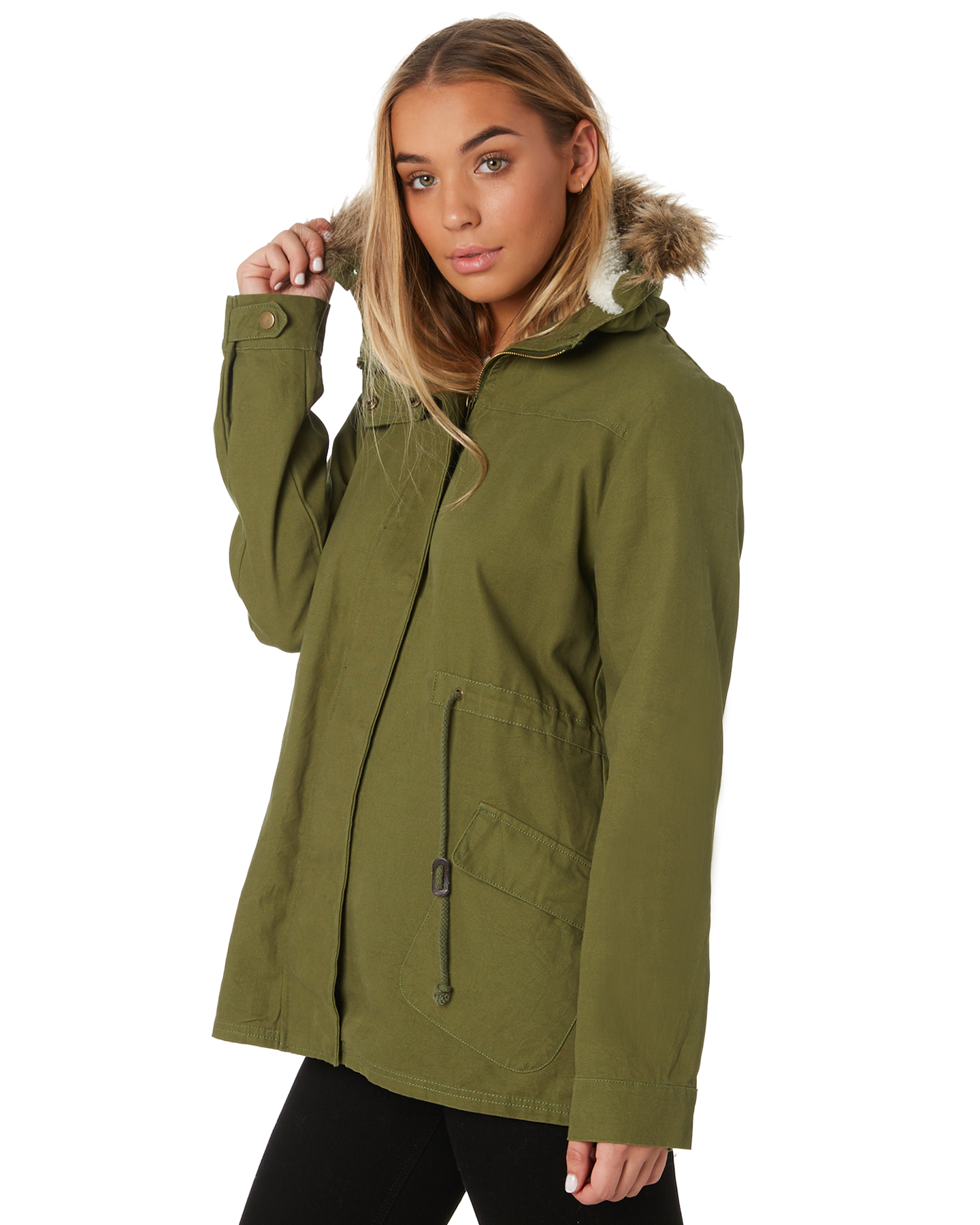 New-Swell-Women-039-s-Fleur-Hooded-Anorak-Cotton-Canvas-Grey thumbnail 12