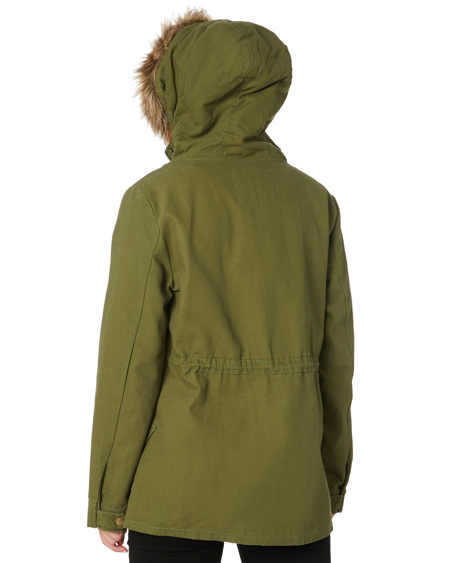 New-Swell-Women-039-s-Fleur-Hooded-Anorak-Cotton-Canvas-Grey thumbnail 13