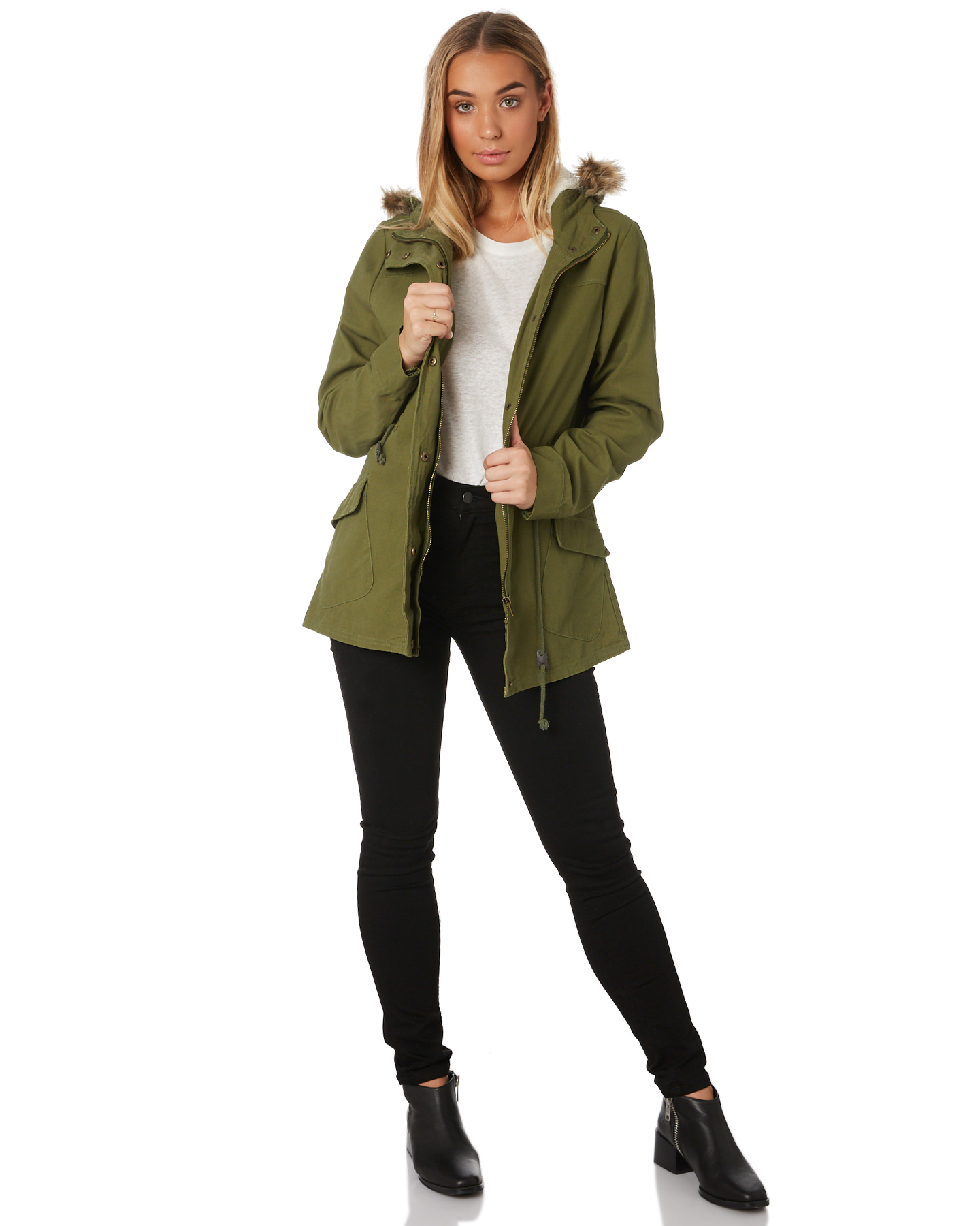 New-Swell-Women-039-s-Fleur-Hooded-Anorak-Cotton-Canvas-Grey thumbnail 15