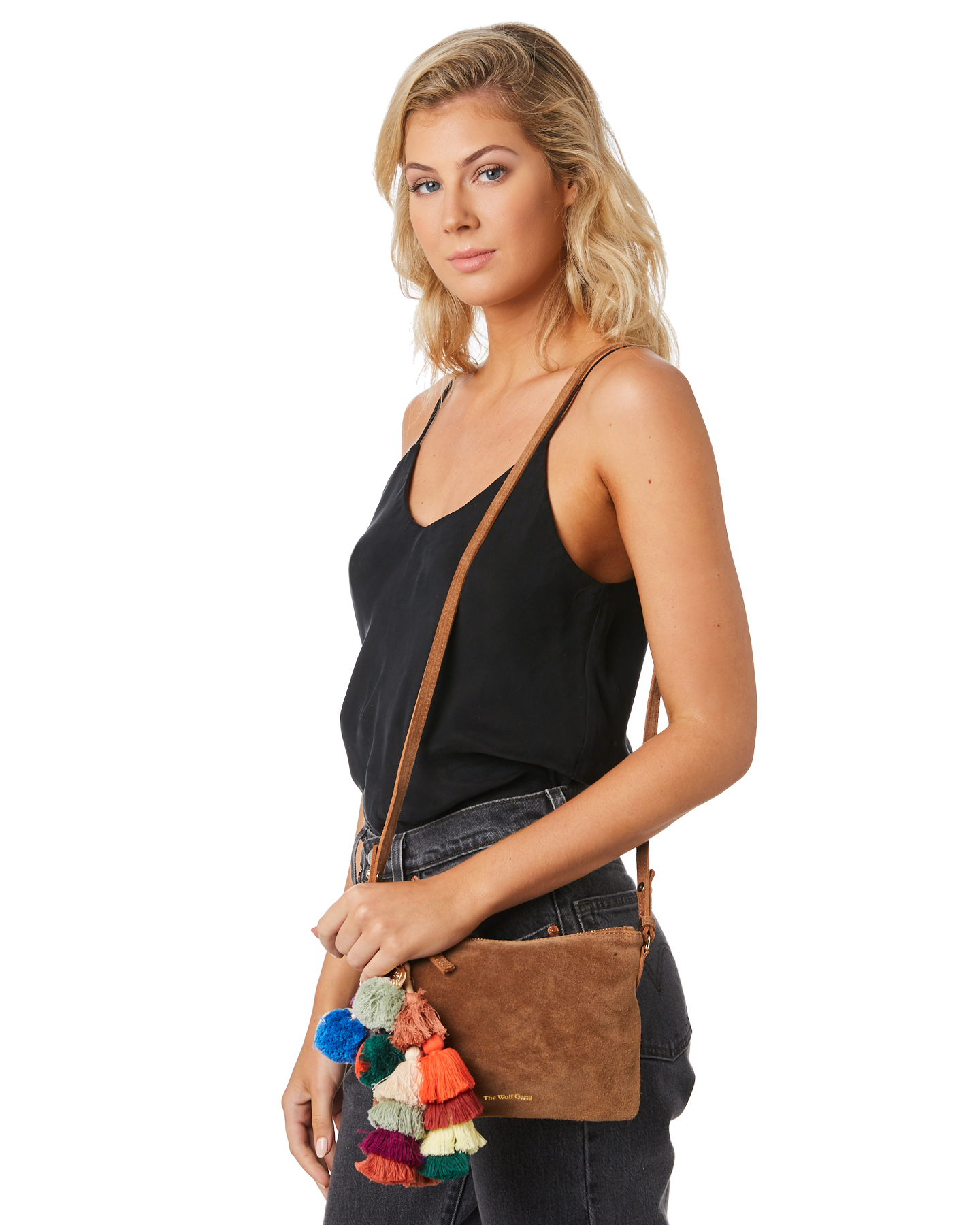 New-The-Wolf-Gang-Women-039-s-Rio-Cross-Body-Bag-Suede-Canvas-Pink thumbnail 15