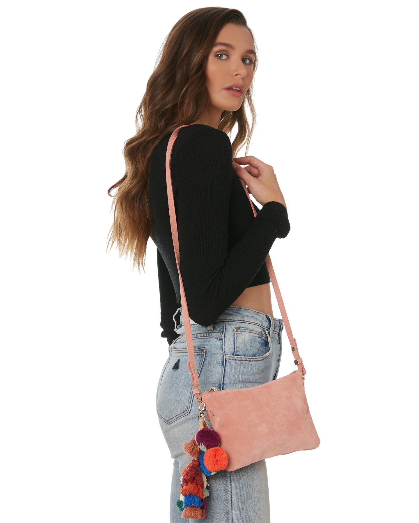 New-The-Wolf-Gang-Women-039-s-Rio-Cross-Body-Bag-Suede-Canvas-Pink thumbnail 19