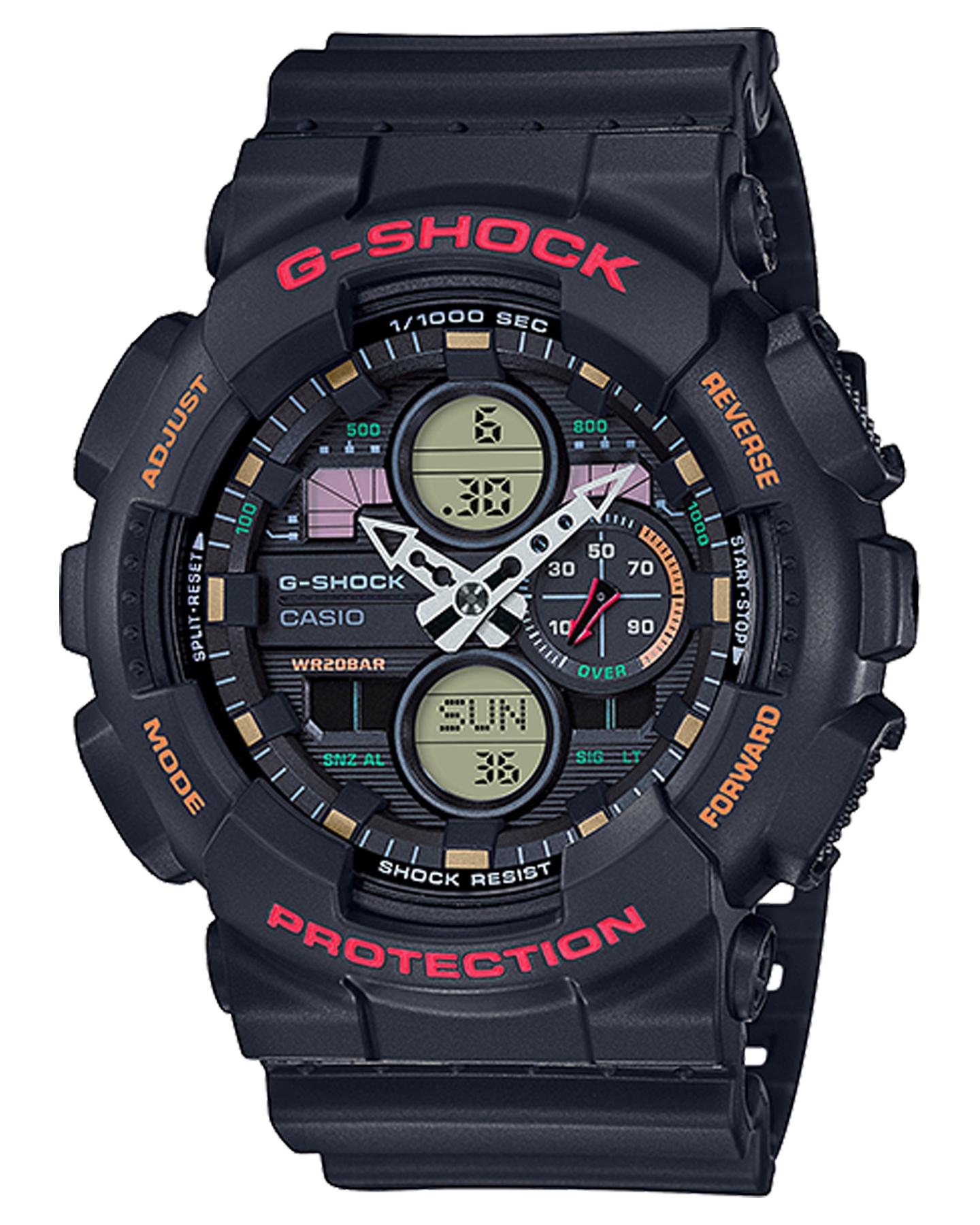 G Shock Ga140 Analog Digital Watch Black Red