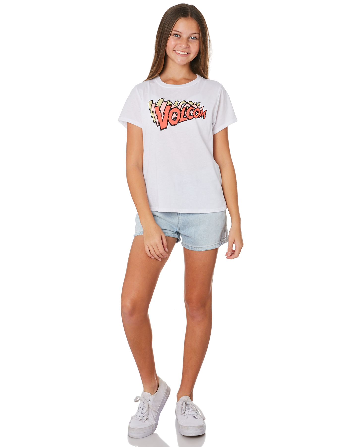 New-Volcom-Girls-Girls-Last-Party-Tee-Teens-White thumbnail 15