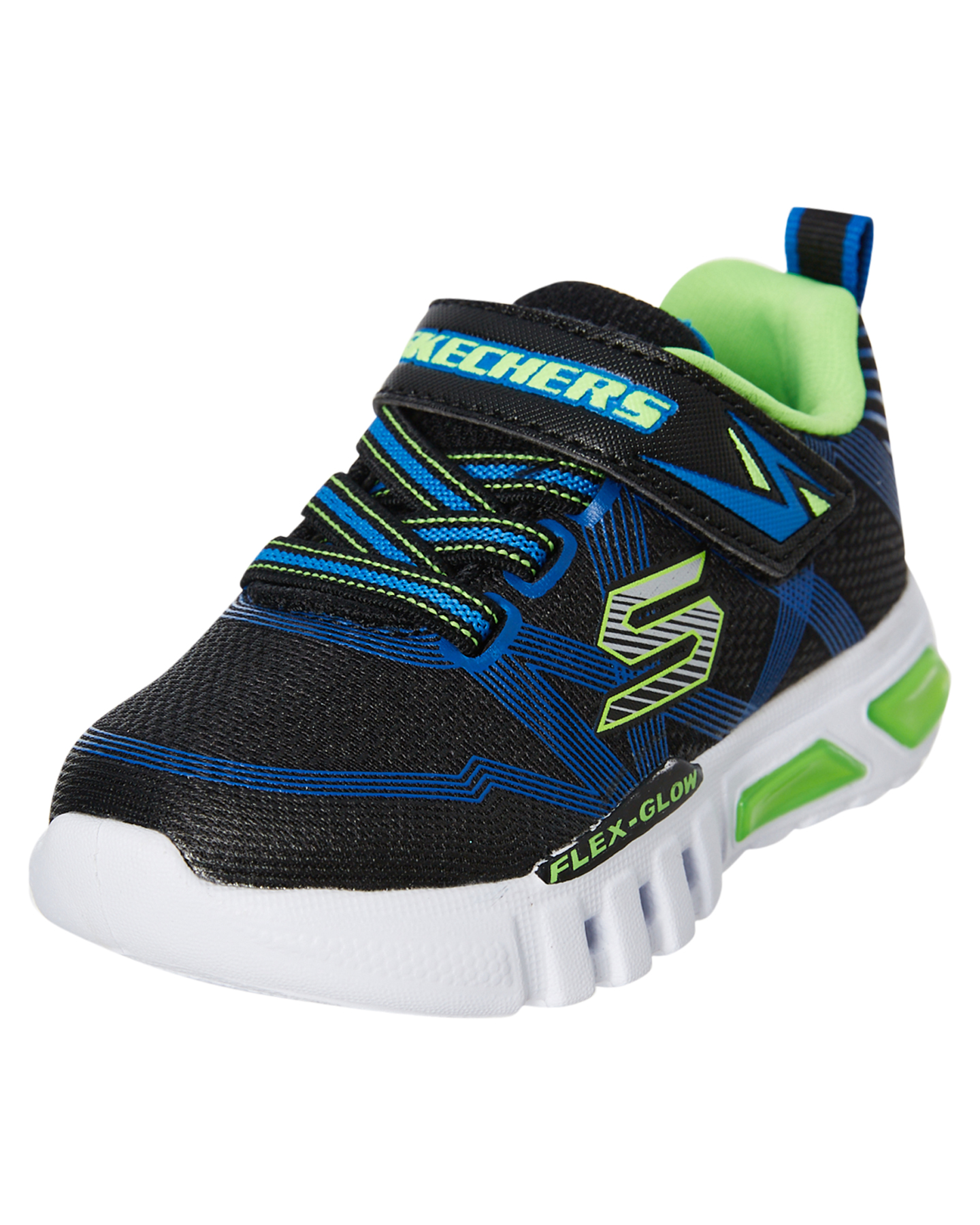 Skechers-Boys-Tots-Boys-Flex-Glow-Shoe-Lace-Mesh-Blue thumbnail 10