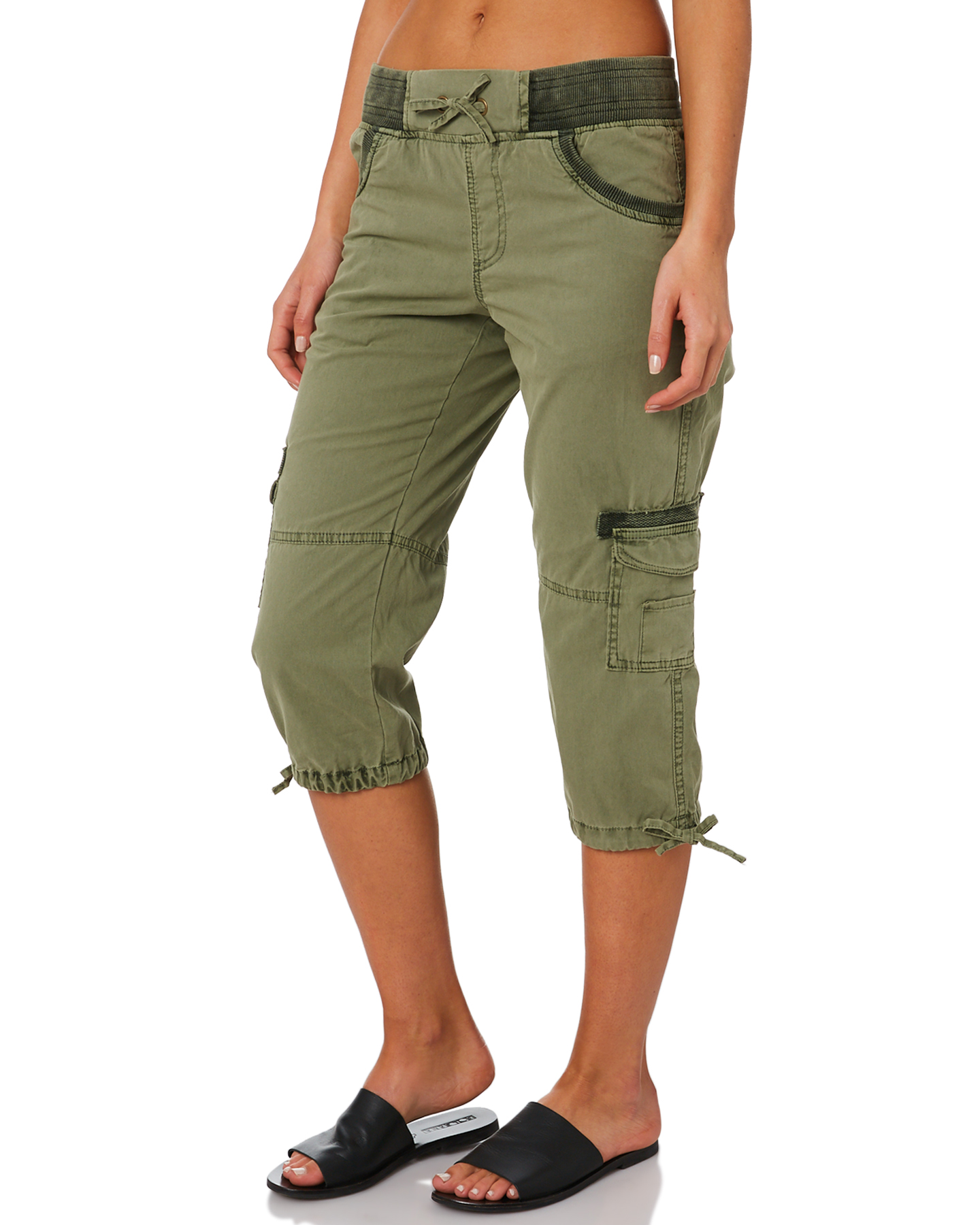 New-Swell-Women-039-s-Mayfair-3-4-Cargo-Pant-Cotton-Green thumbnail 7