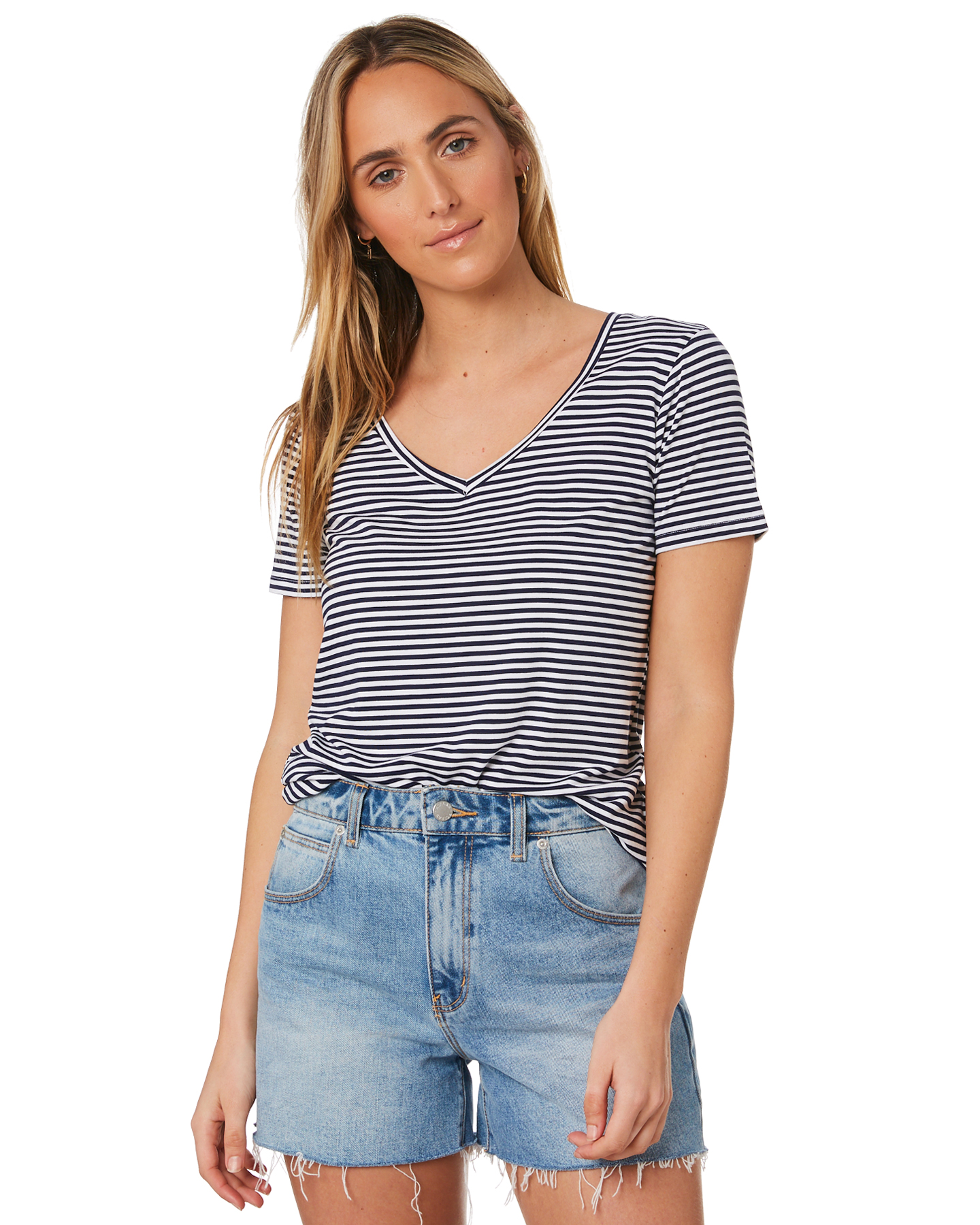 Betty Basics Manhattan V Neck Tee Navy White Stripe Navy White Stripe