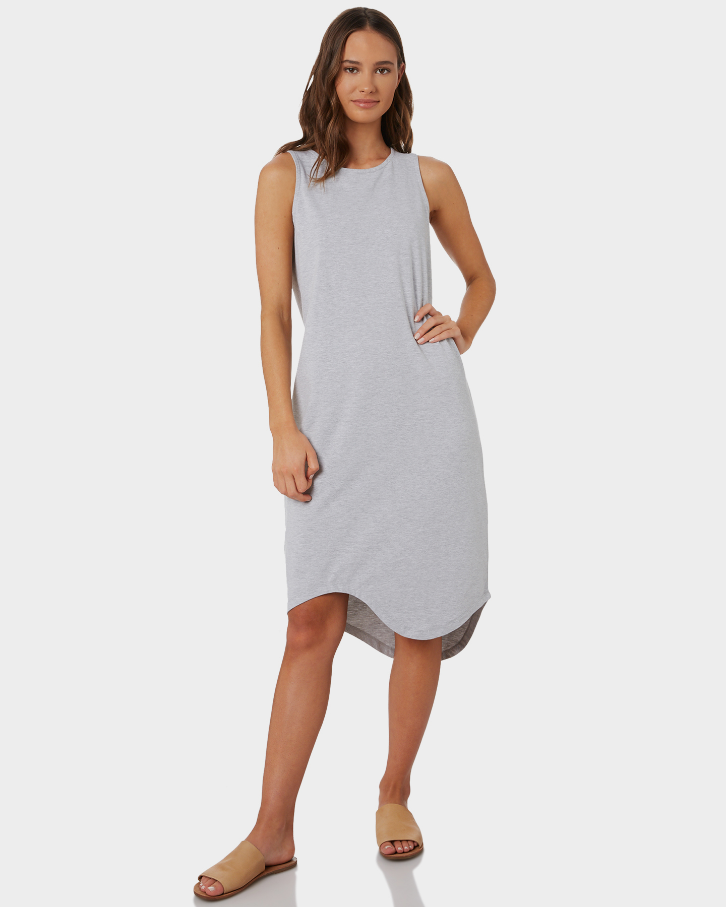 Silent Theory One In Eight Midi Dress Grey Marle