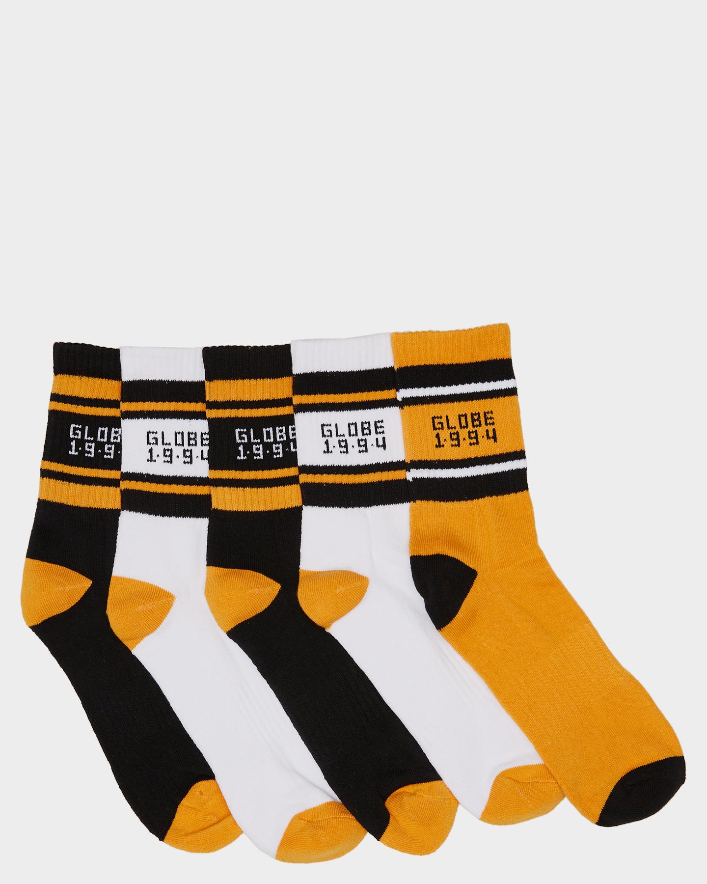 Globe Bengal Crew 5 Pack Socks Gold
