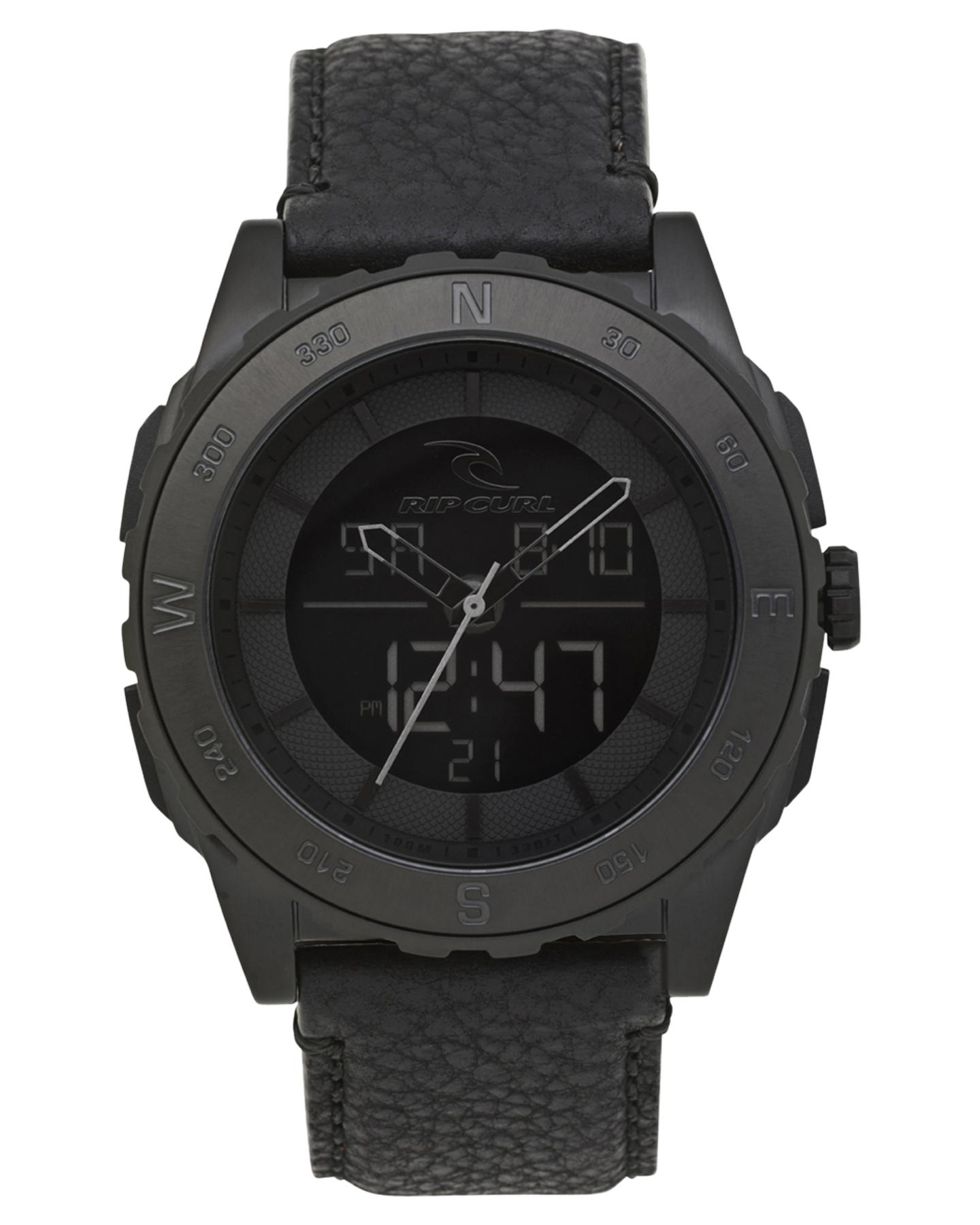 Rip Curl Rival Ana-Digital Lthr Watch Blackout