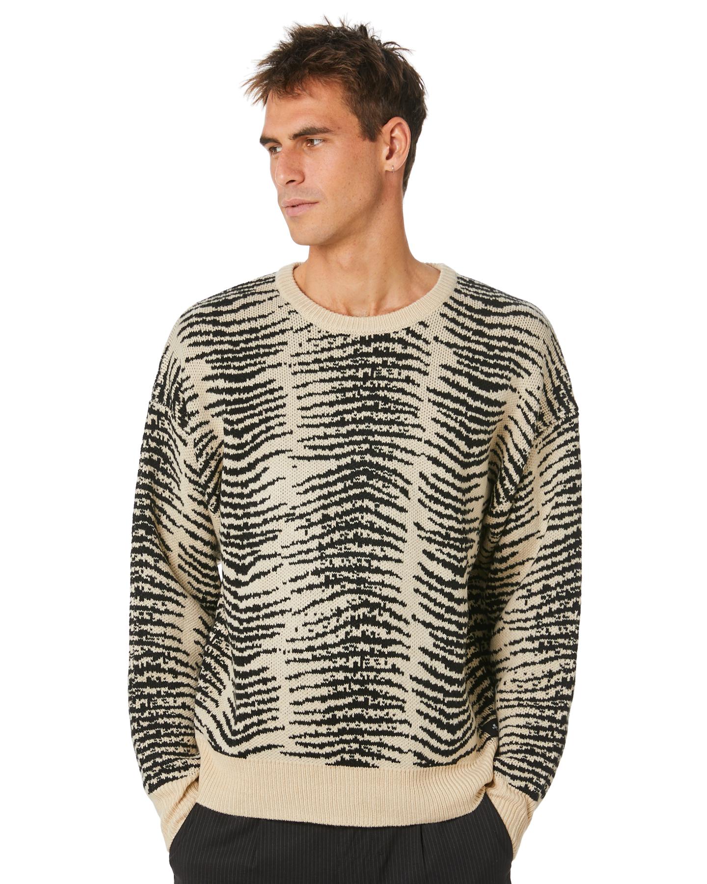 Thrills Zebra Lounge Mens Crew Knit Thrift White