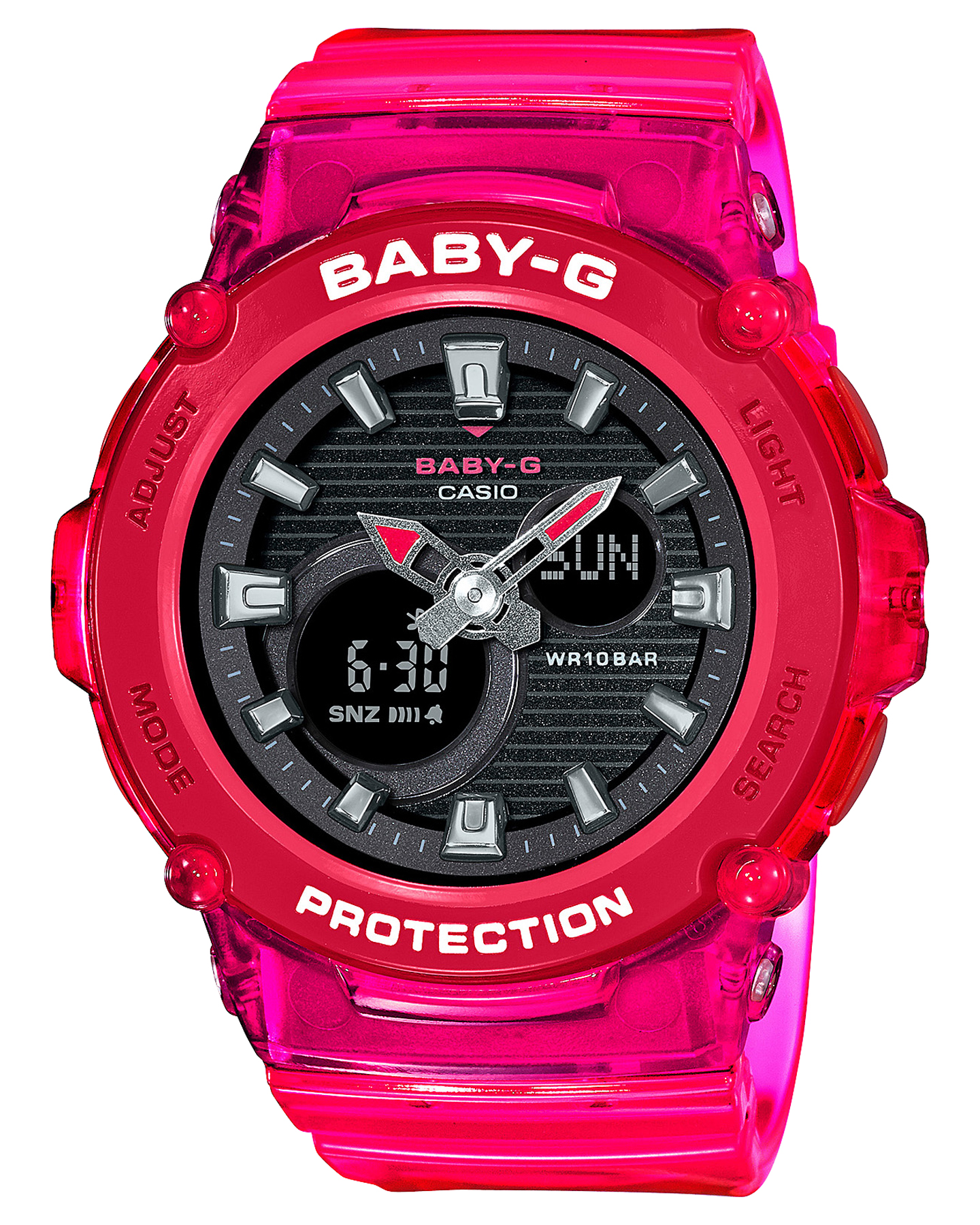 Baby G Bga270S Semi-Transparent Colour Series Watch Red