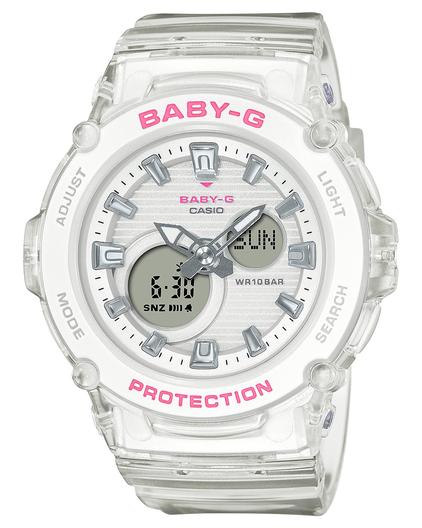 Baby G Bga270S Semi-Transparent Colour Series Watch White