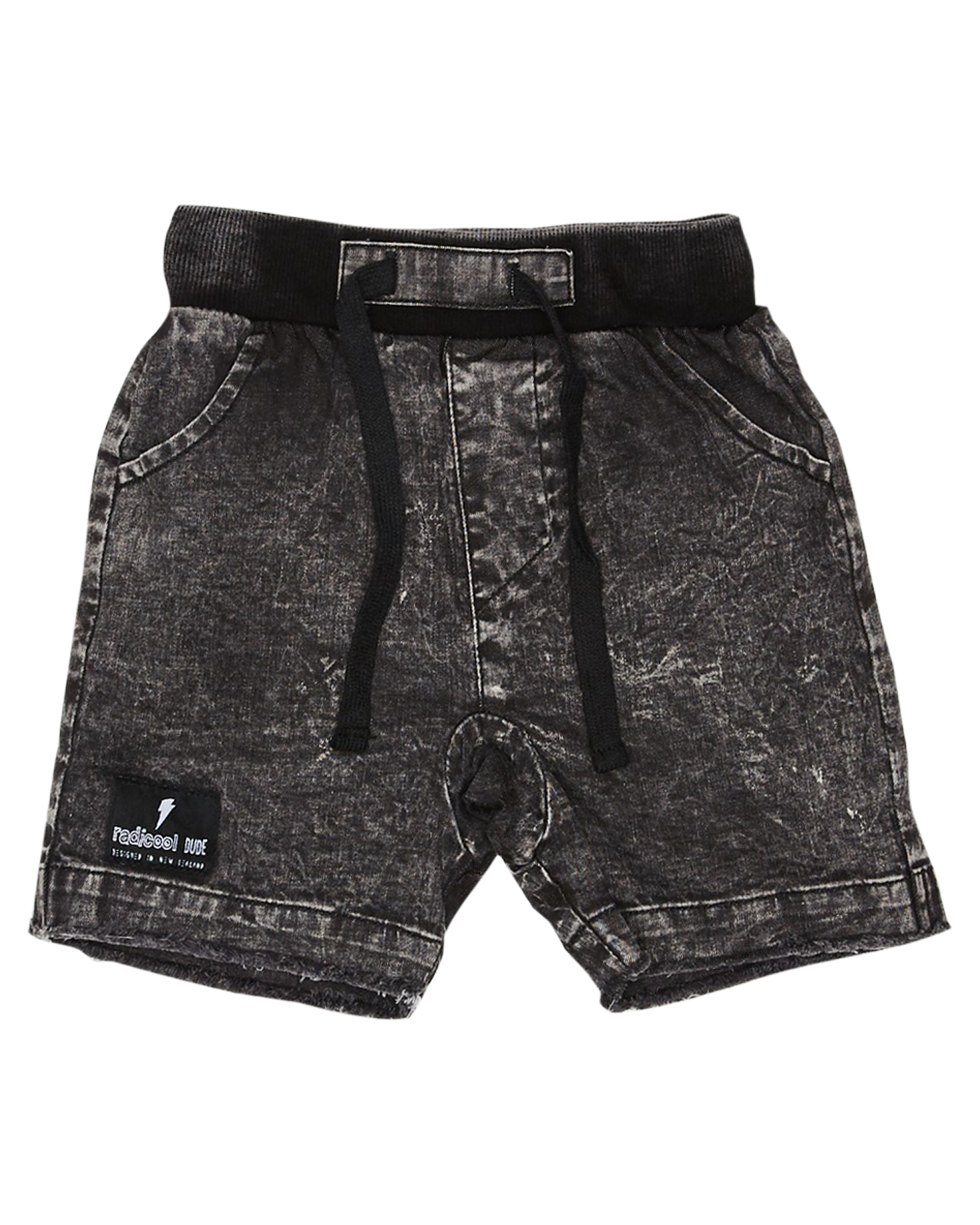 Radicool Dude Boys Yellow Bolt Denim Short - Kids Black Acid Wash