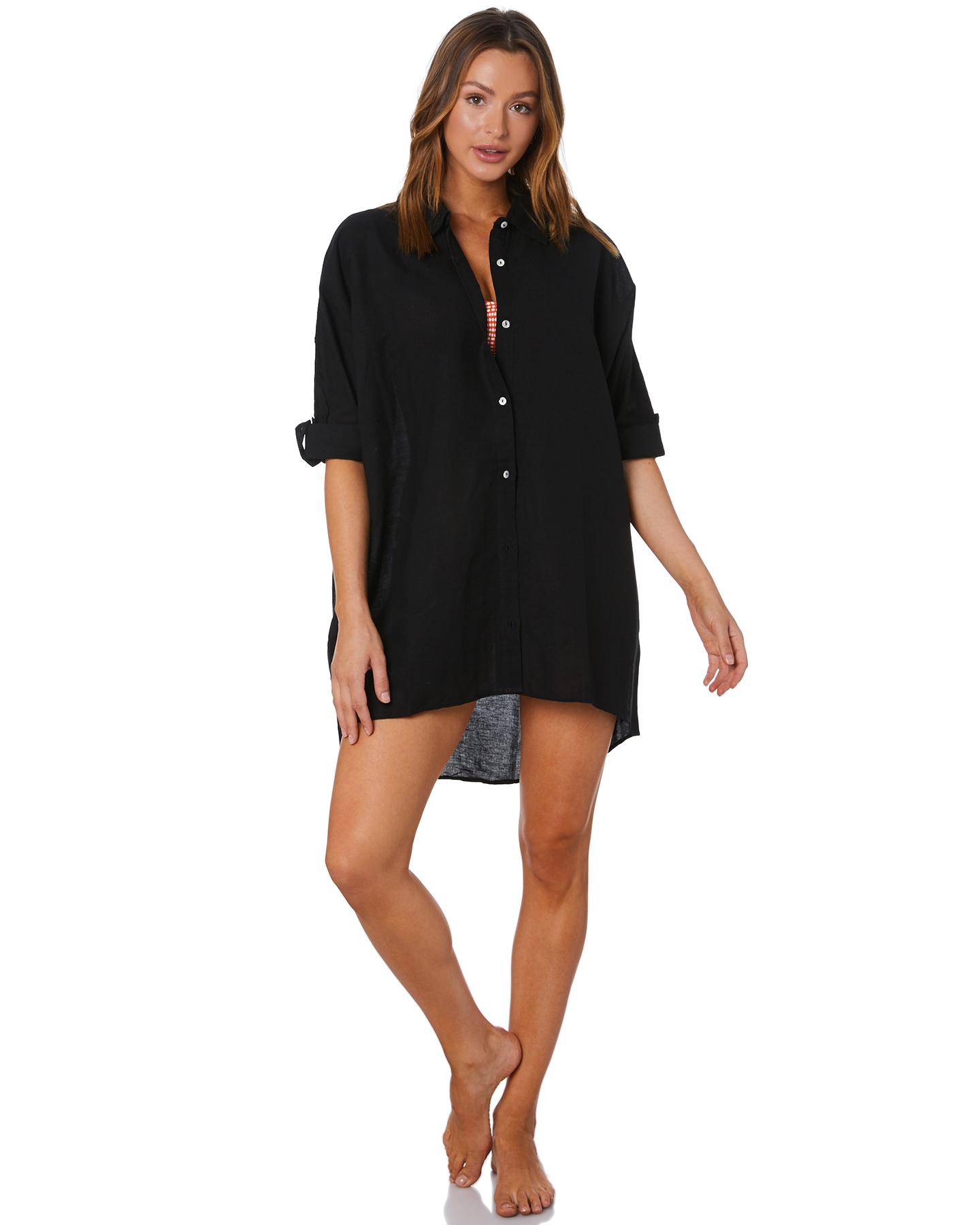 Seafolly Light Weight Linen Blend Shirt Black