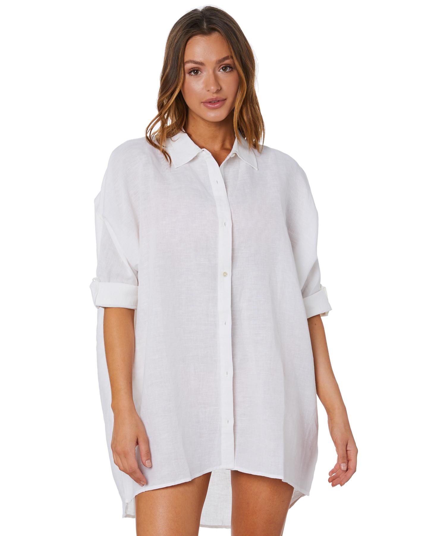 Seafolly Light Weight Linen Blend Shirt White