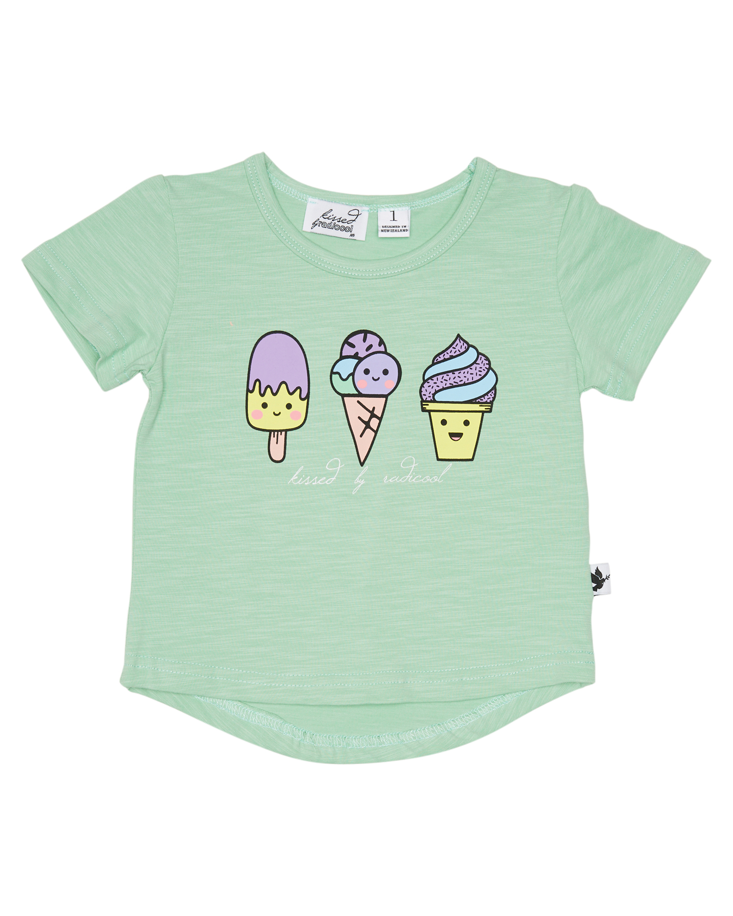 Kissed By Radicool Girls All The Flavours Tee Kids Mint Mint