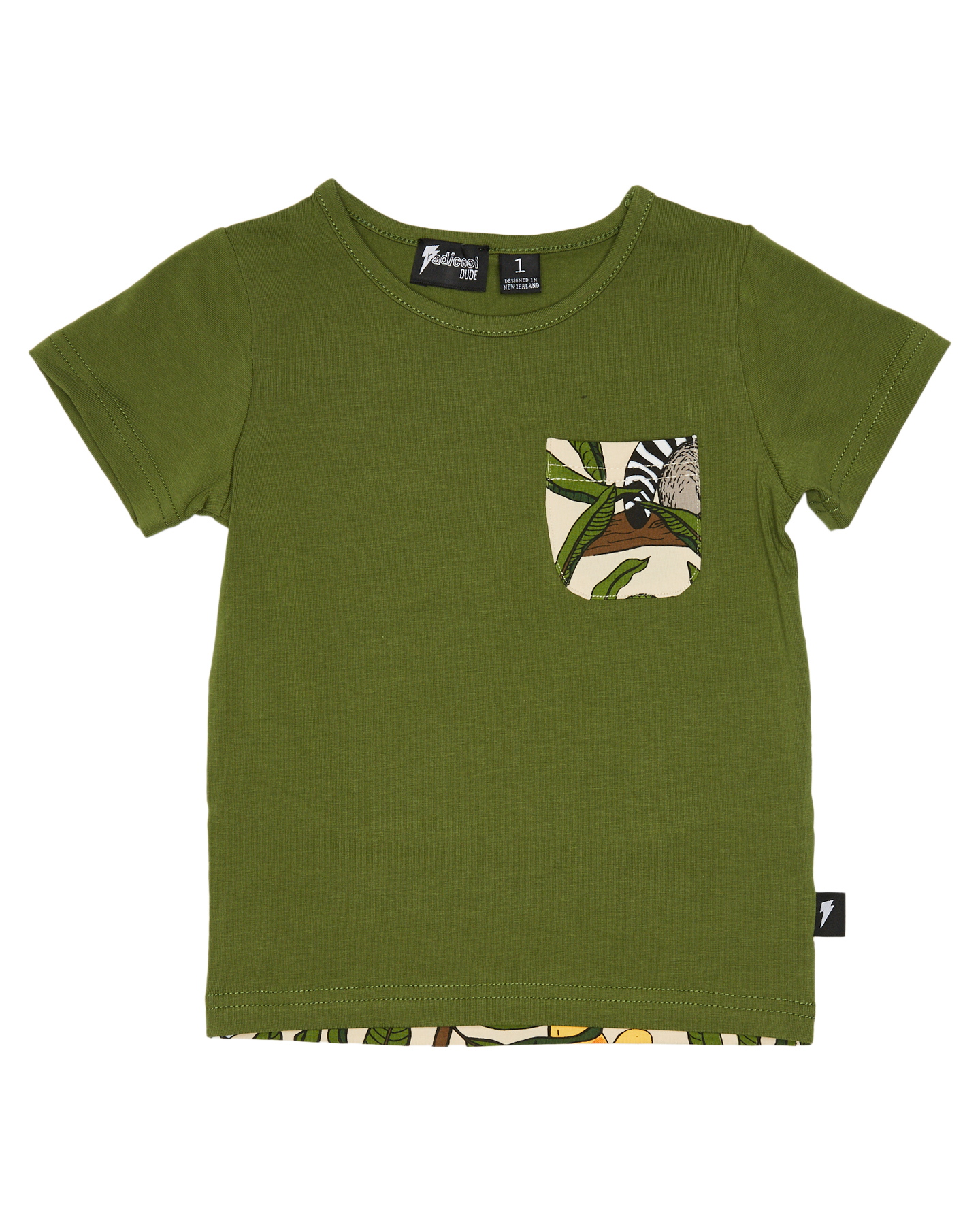 Radicool Dude Boys Lemur Pocket Tee - Kids Green