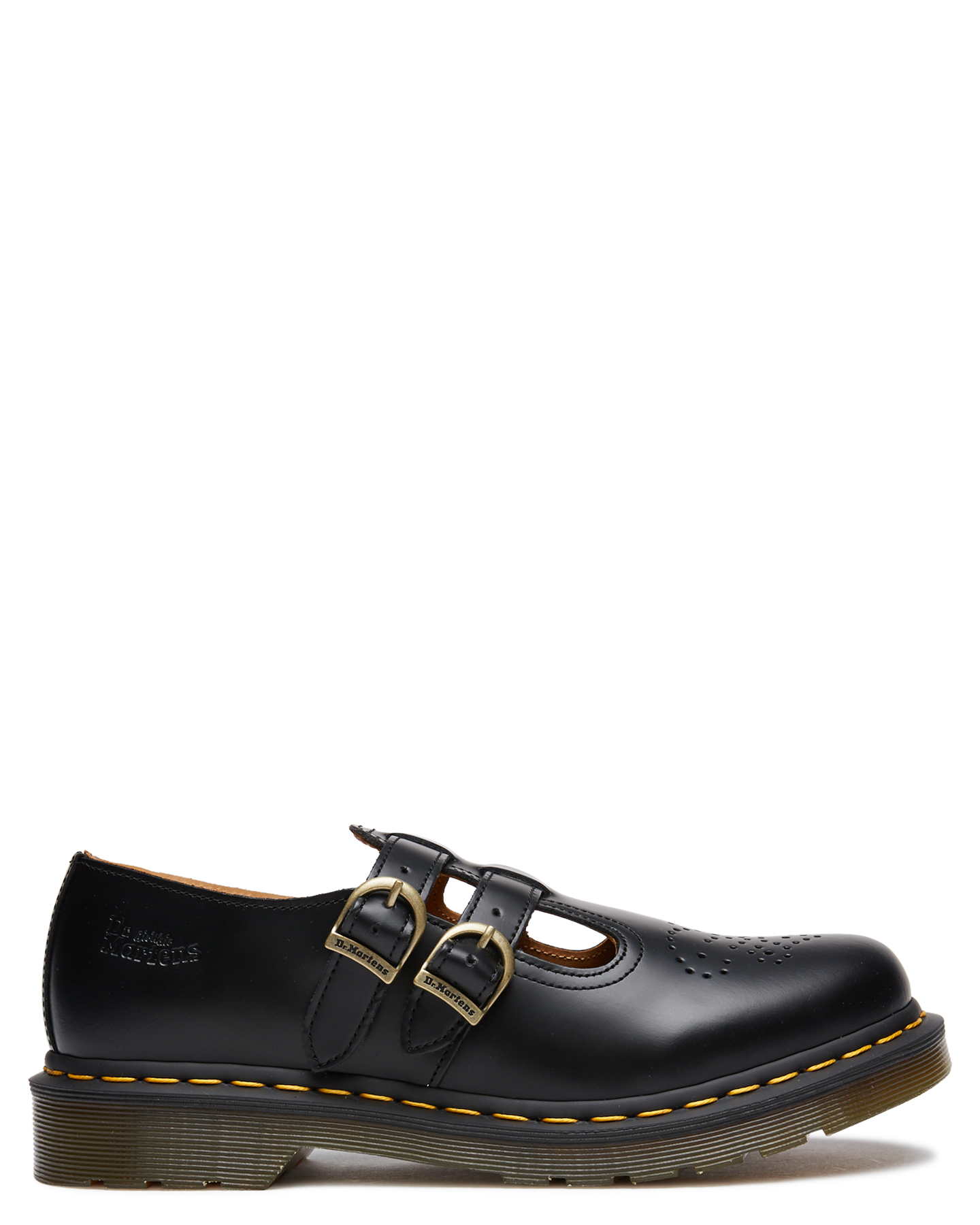Womens Mary Jane Leather Shoes Stitched Air Sole Black