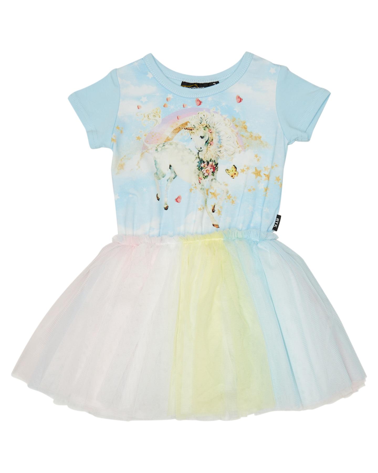 Rock Your Kid Girls Unicorn Clouds Ss Circus Dress - Kids Blue