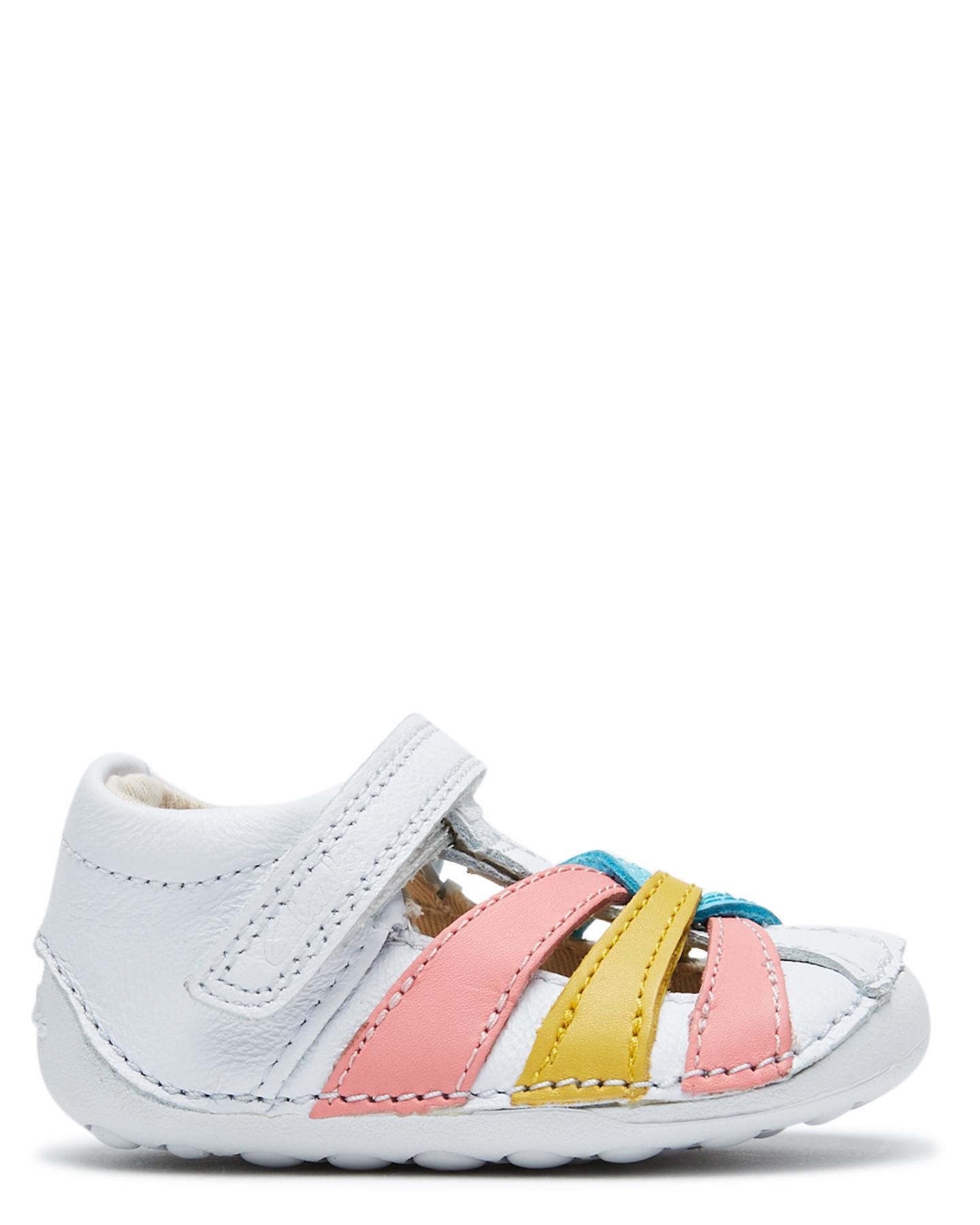 Clarks Girls Tiny Mae Shoe- Toddler White Combo