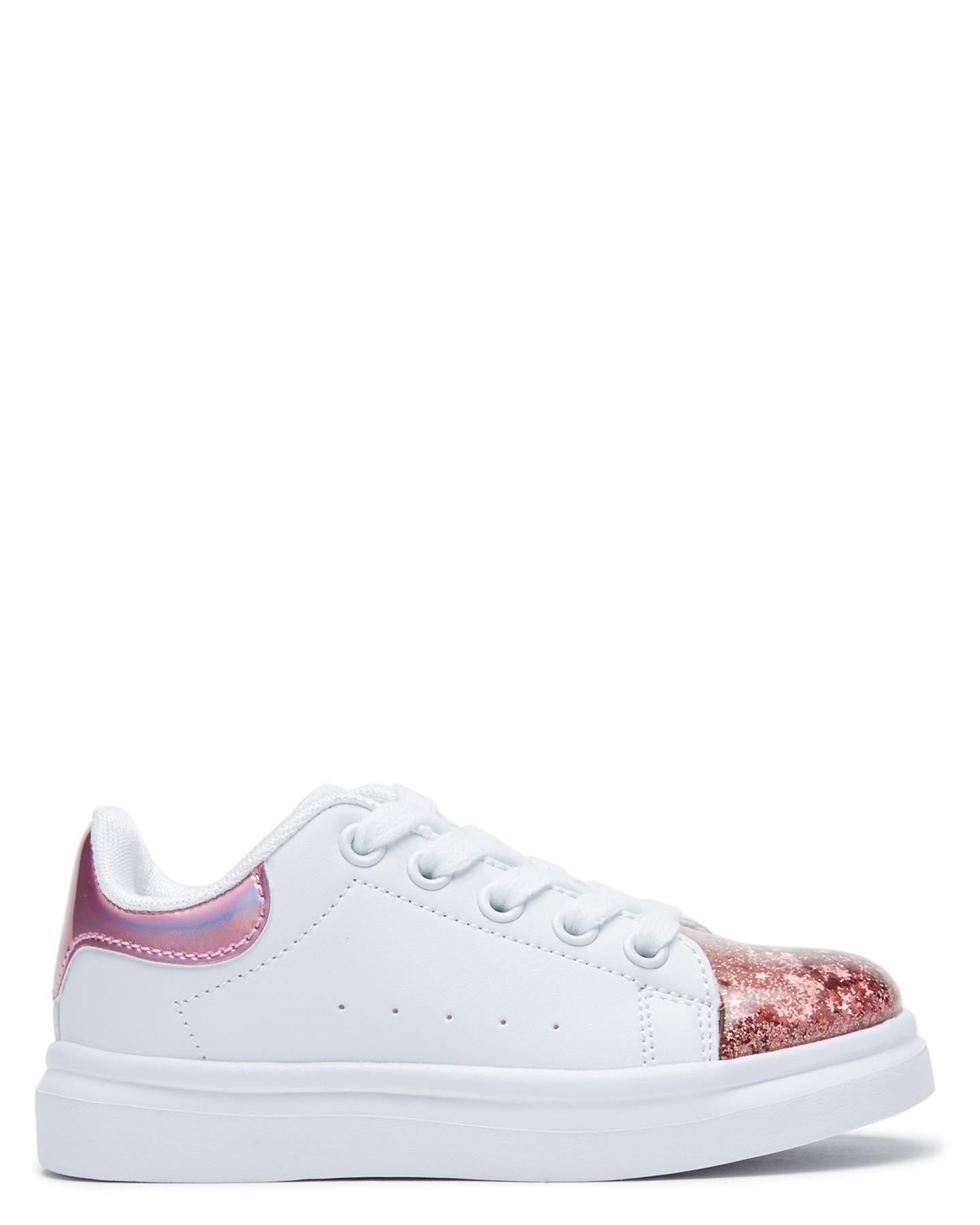 Clarks Girls Queenie Shoe - Youth White Pink