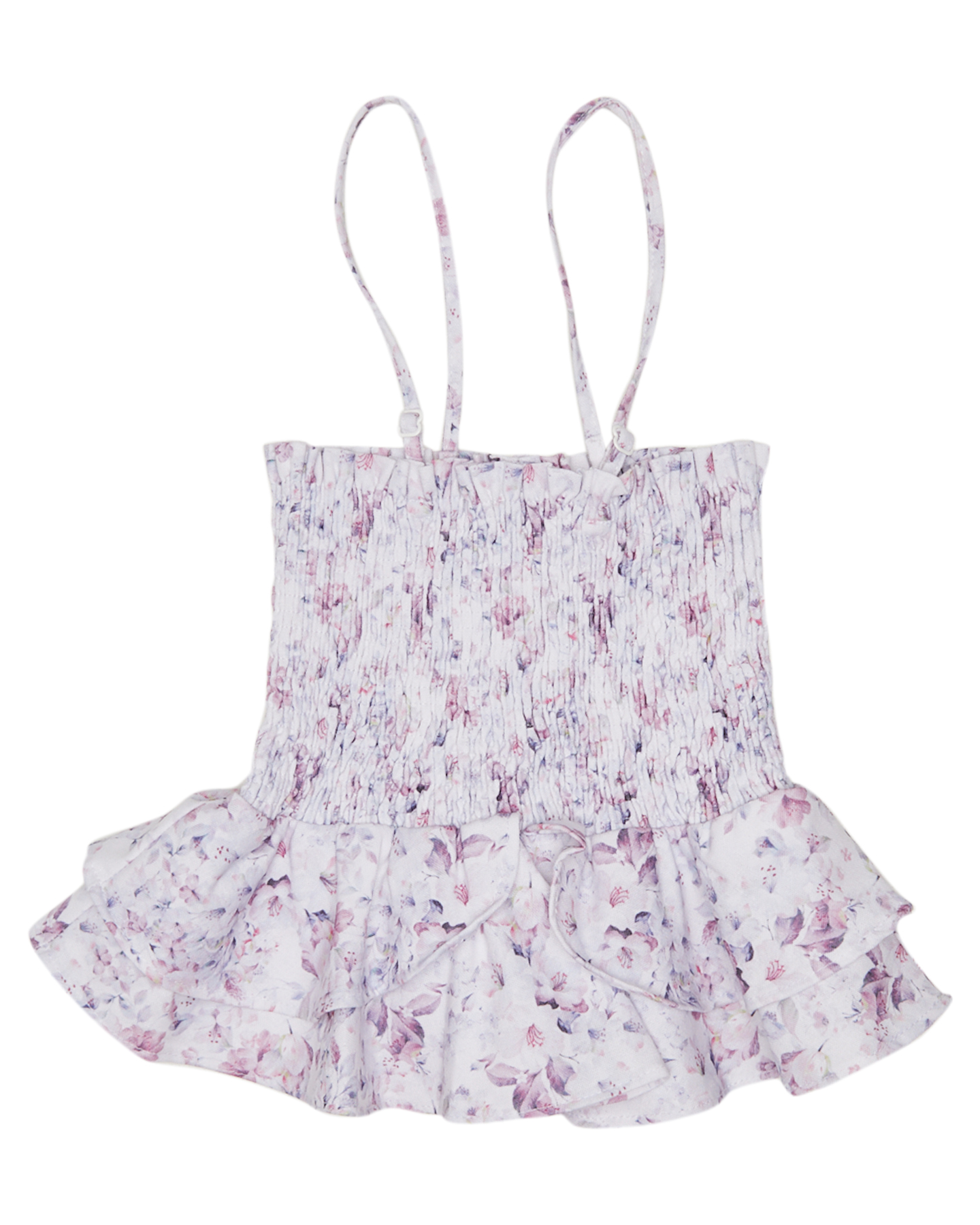 Little Hearts Girls 2 In 1  Shirred Top/Skirt - Kids Summer Bloom Lilac