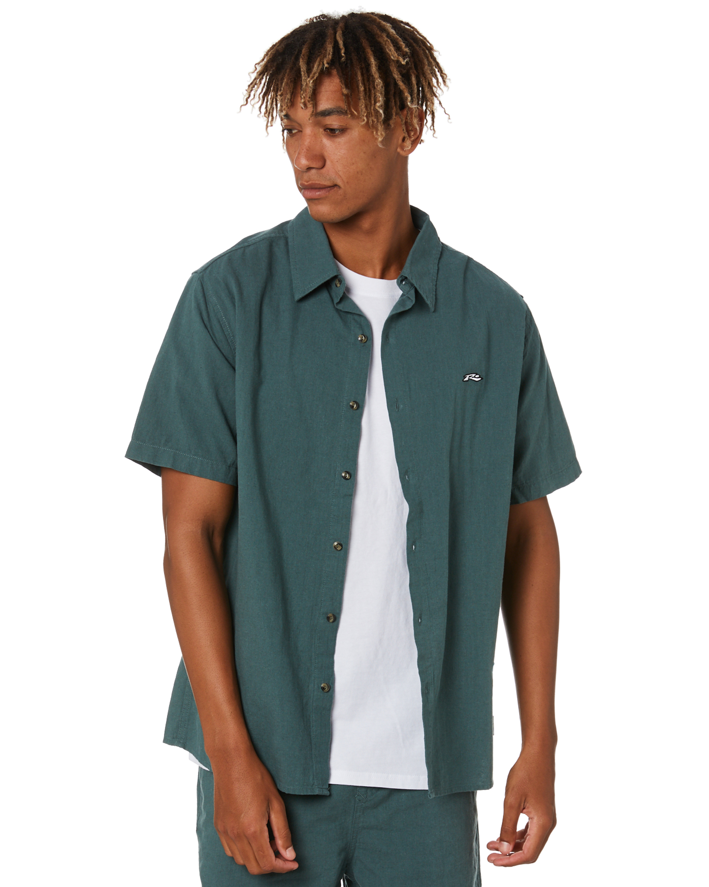 Rusty Undertone Mens Short Sleeve Linen Shirt Blue Coral