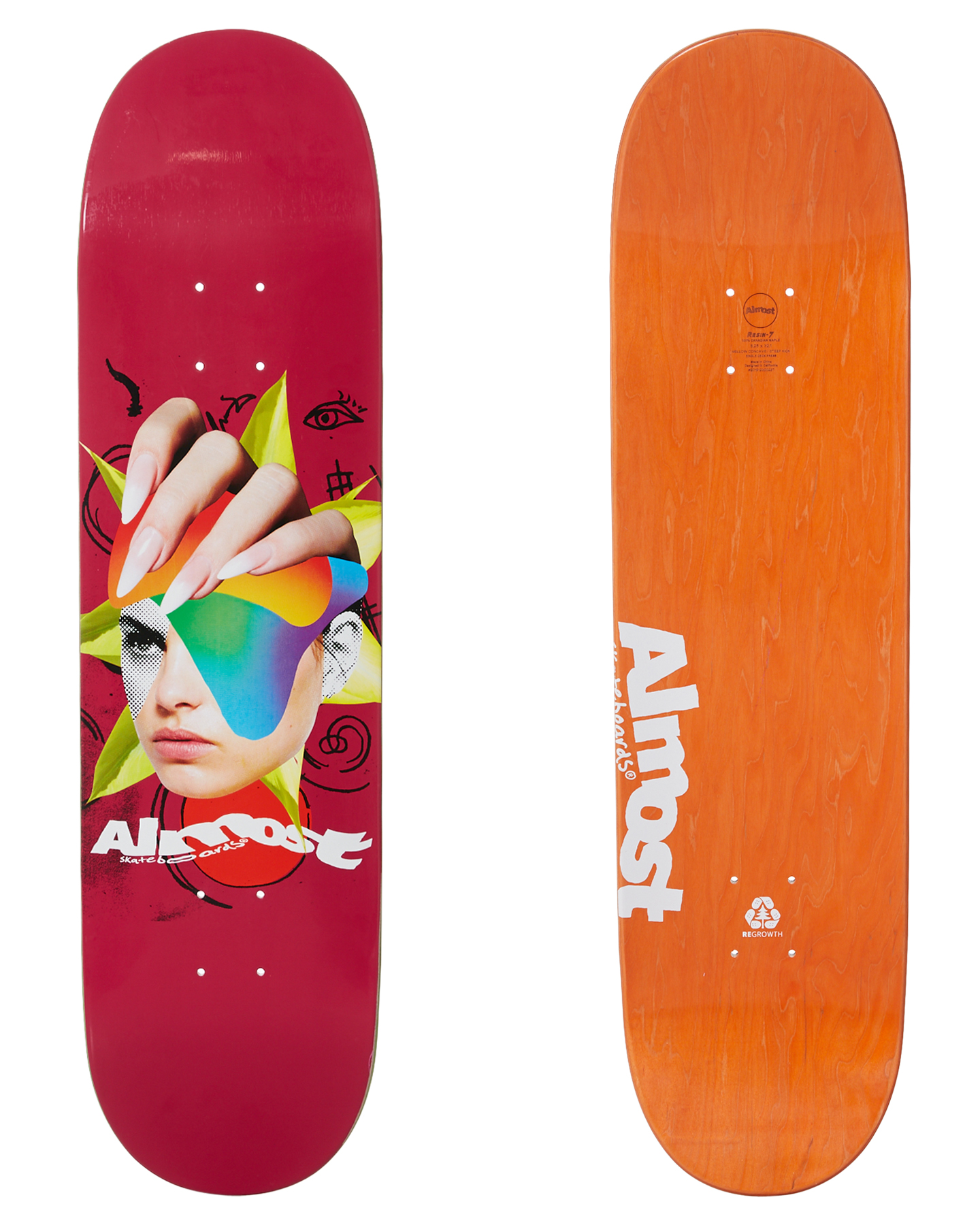 Almost Face Collage R7 8 25 Inch Deck Pink