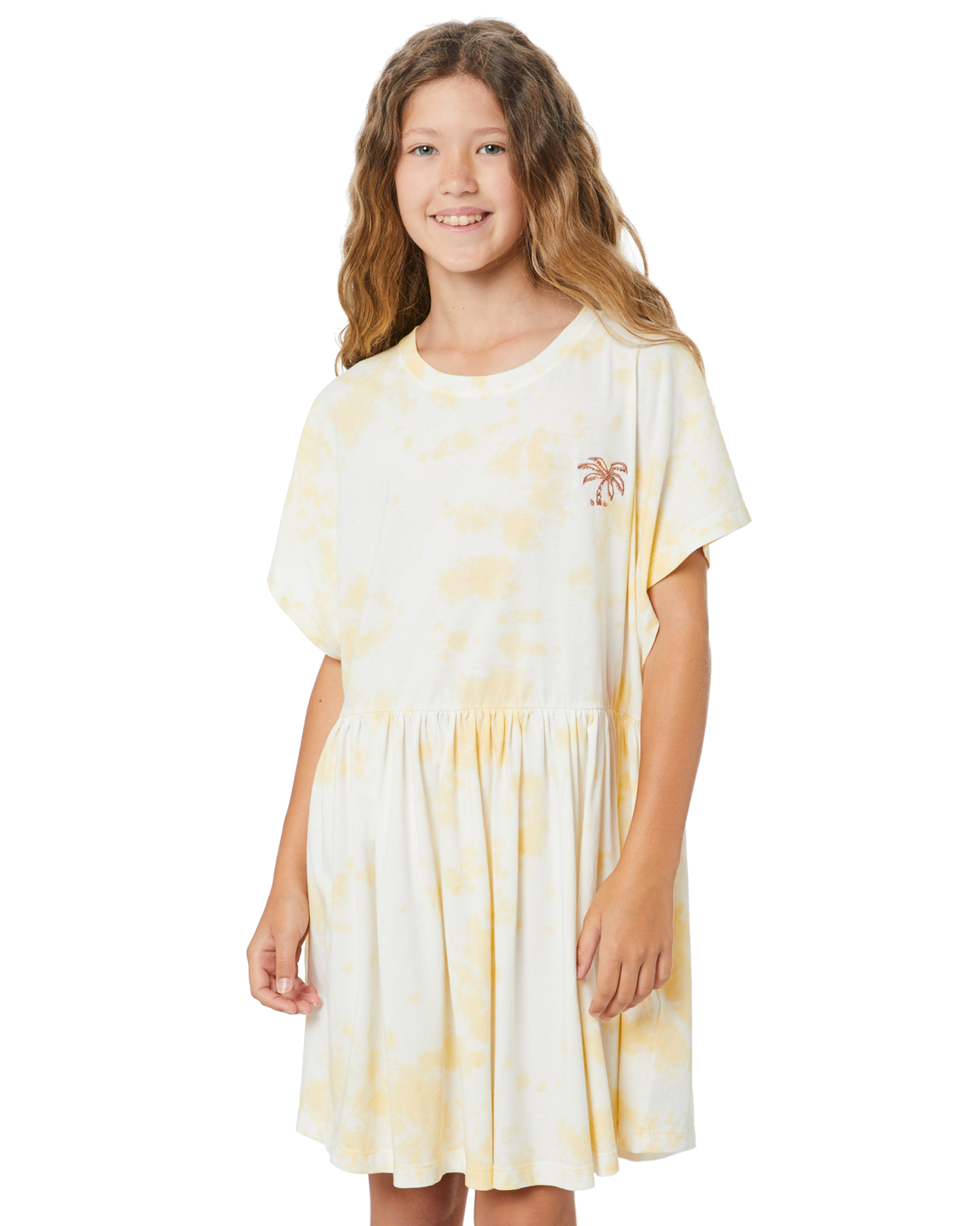Munster Kids Girls Seas The Day Dress - Teen Lemon Tie Dye
