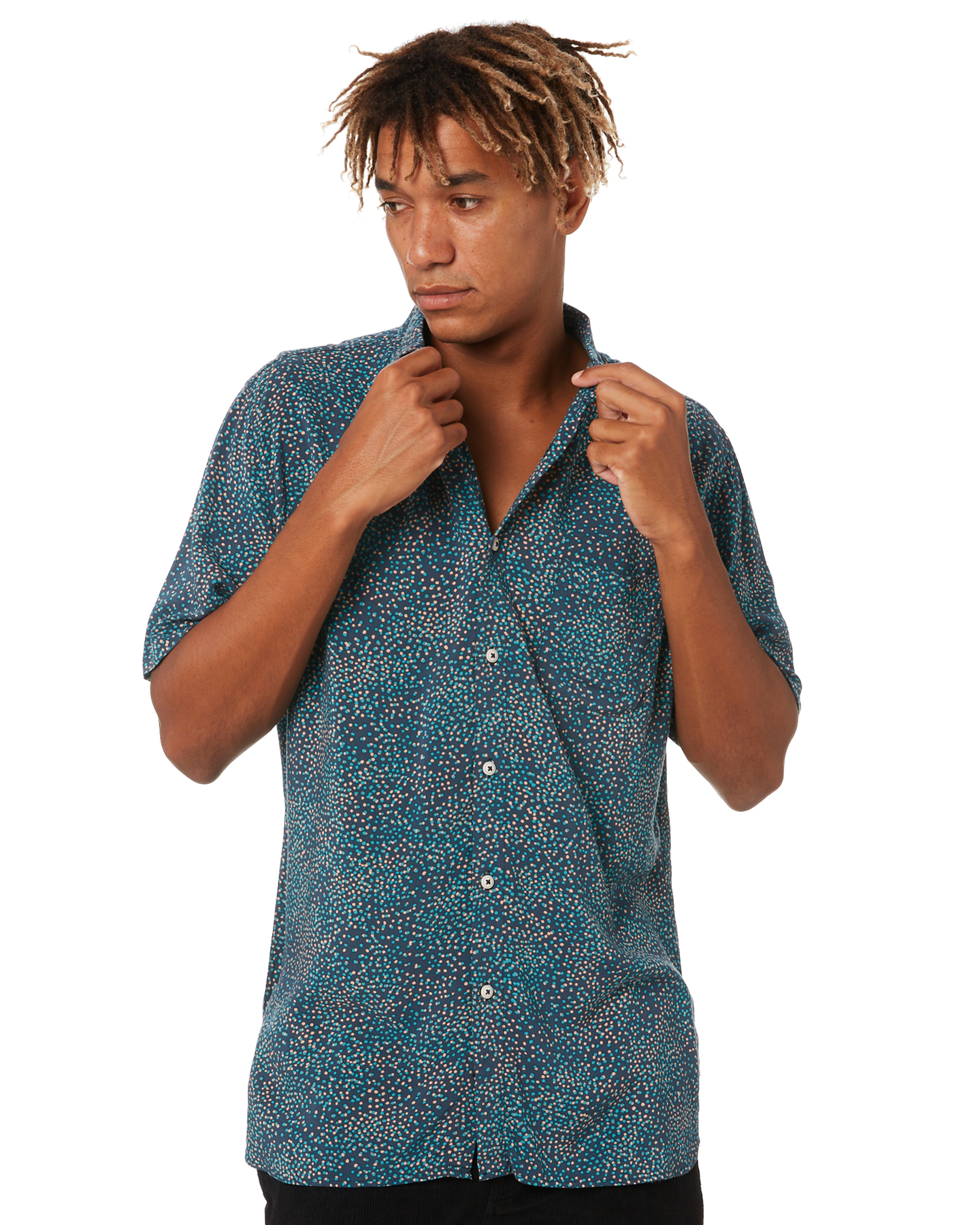 Barney Cools Holiday Mens Short-Sleeve Shirt Ditzy Ditzy