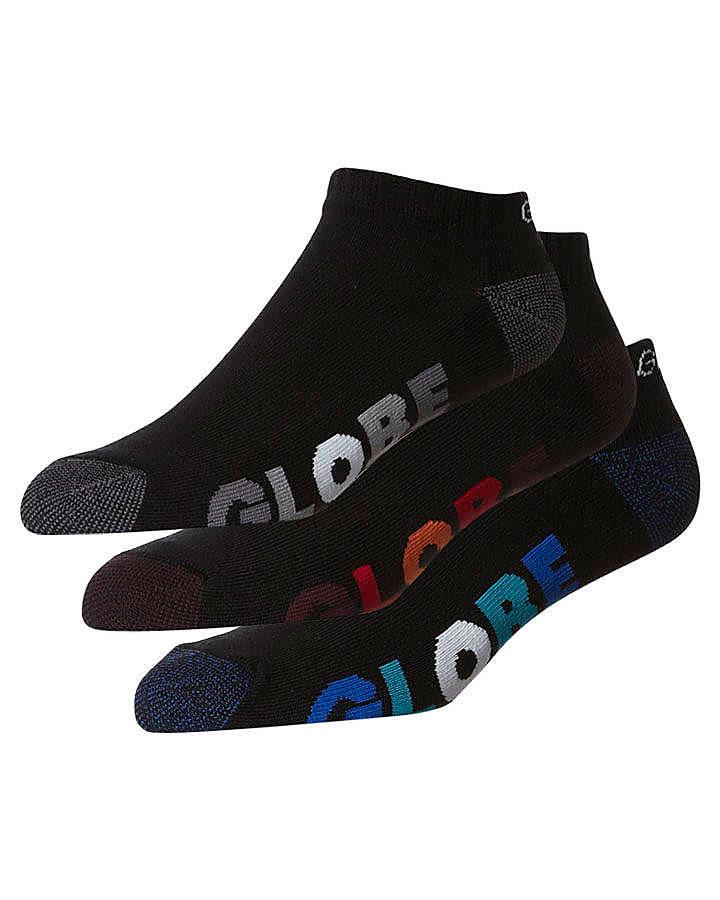 Globe Multi Stripe Ankle 5 Pack Of Socks Size 9-11 Black
