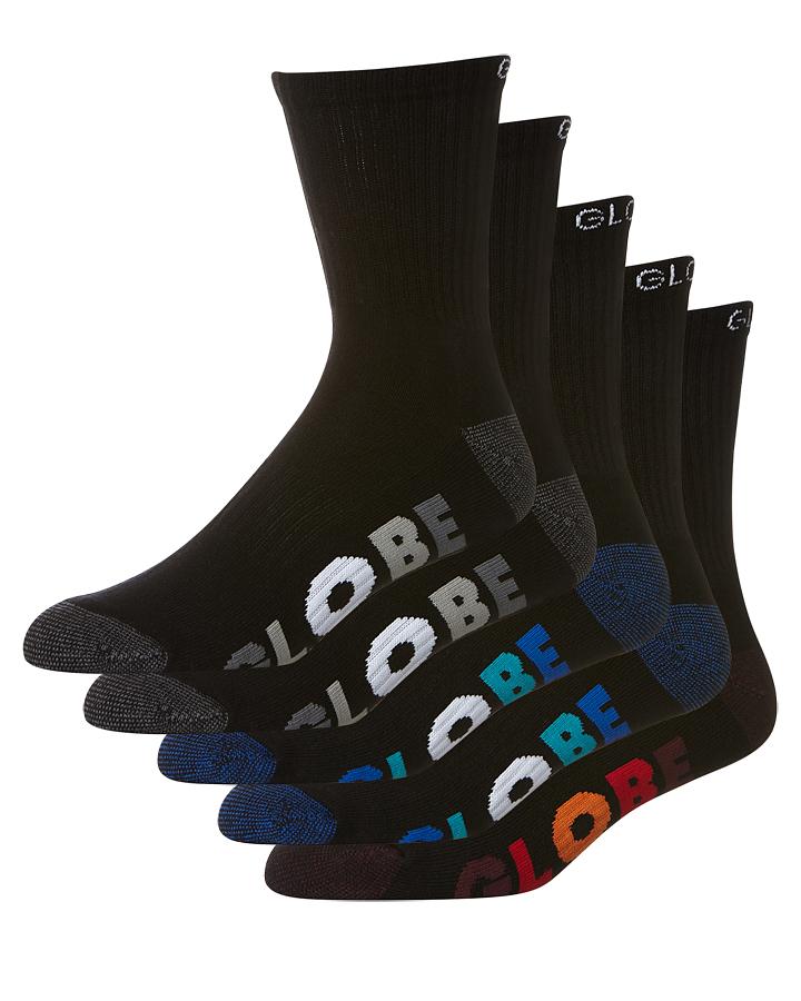 Globe Multi Stripe 5 Pack Of Socks Size 7-11 Black