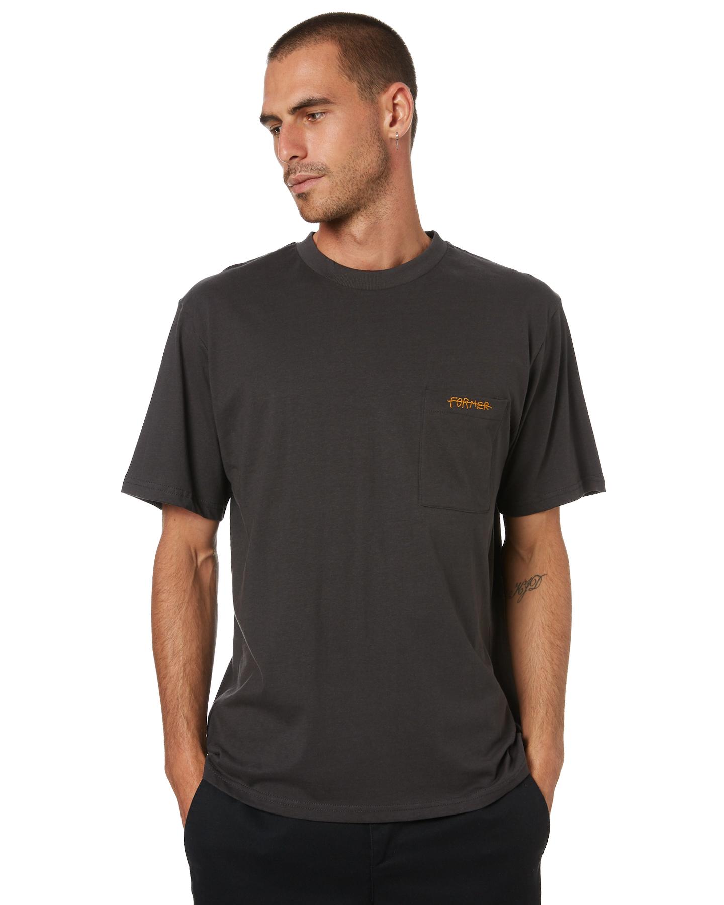 Former Pocket Script Mens T-Shirt Aged Black