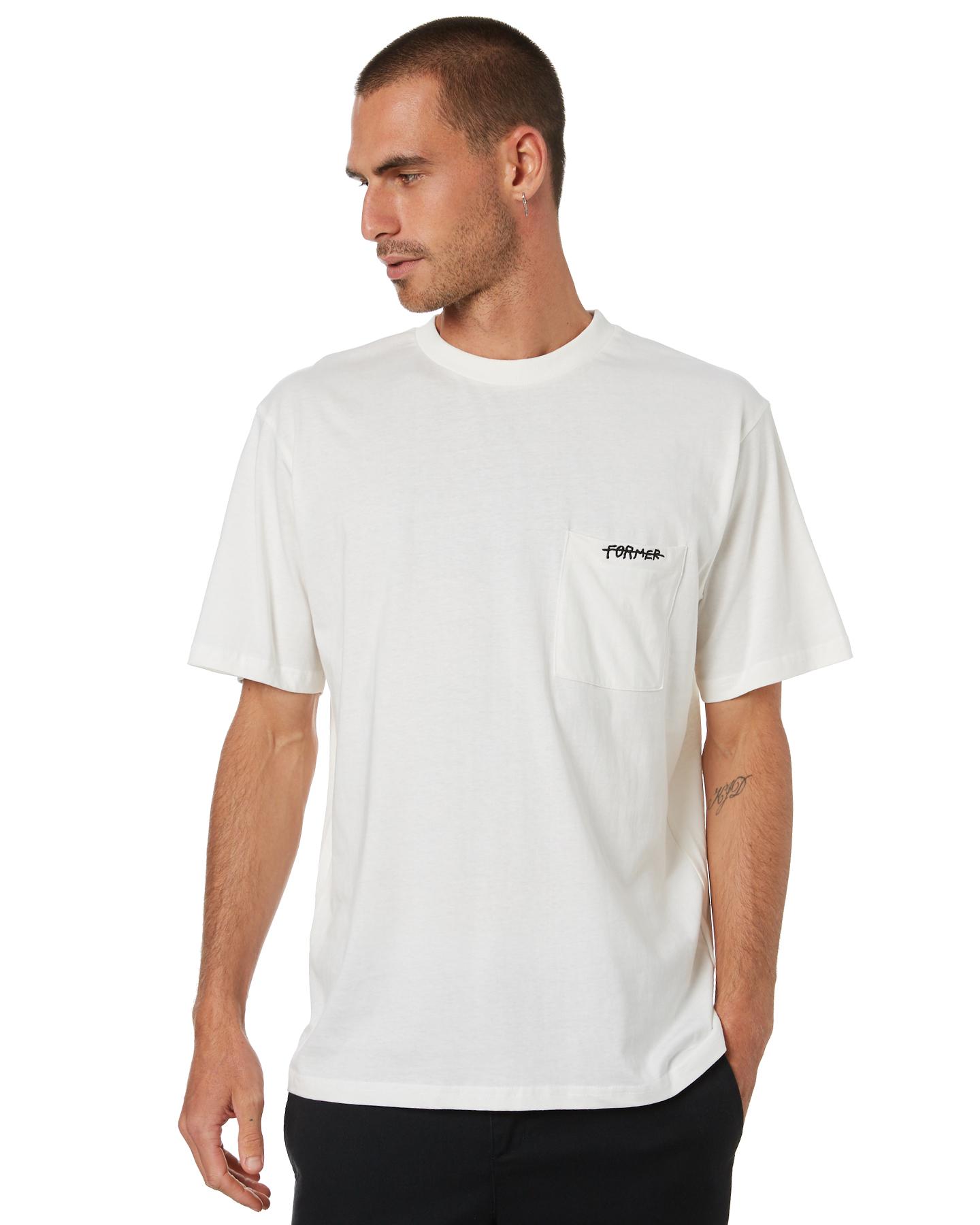Former Pocket Script Mens T-Shirt Creme Creme
