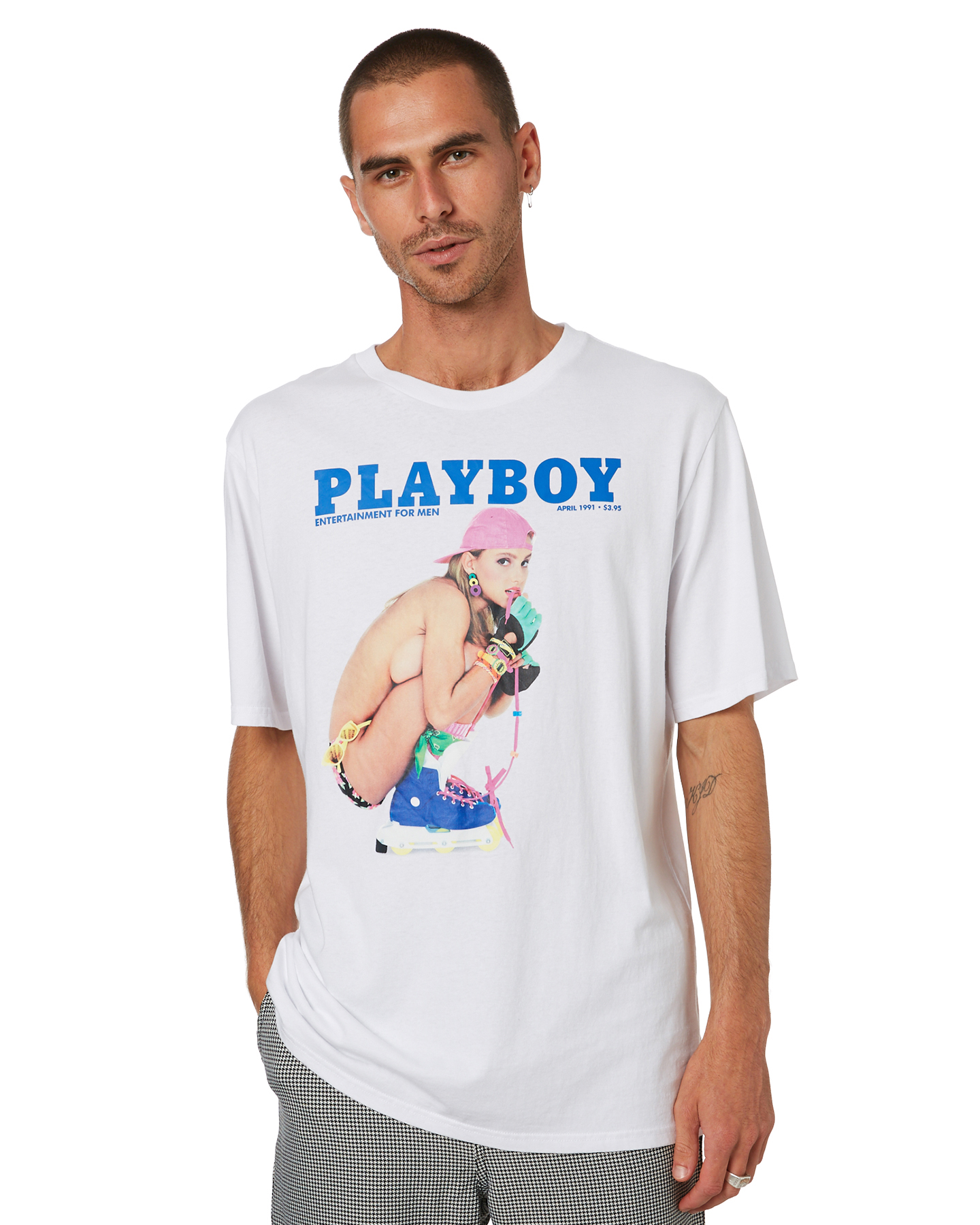 Playboy April 91' Mens Ss Tee White