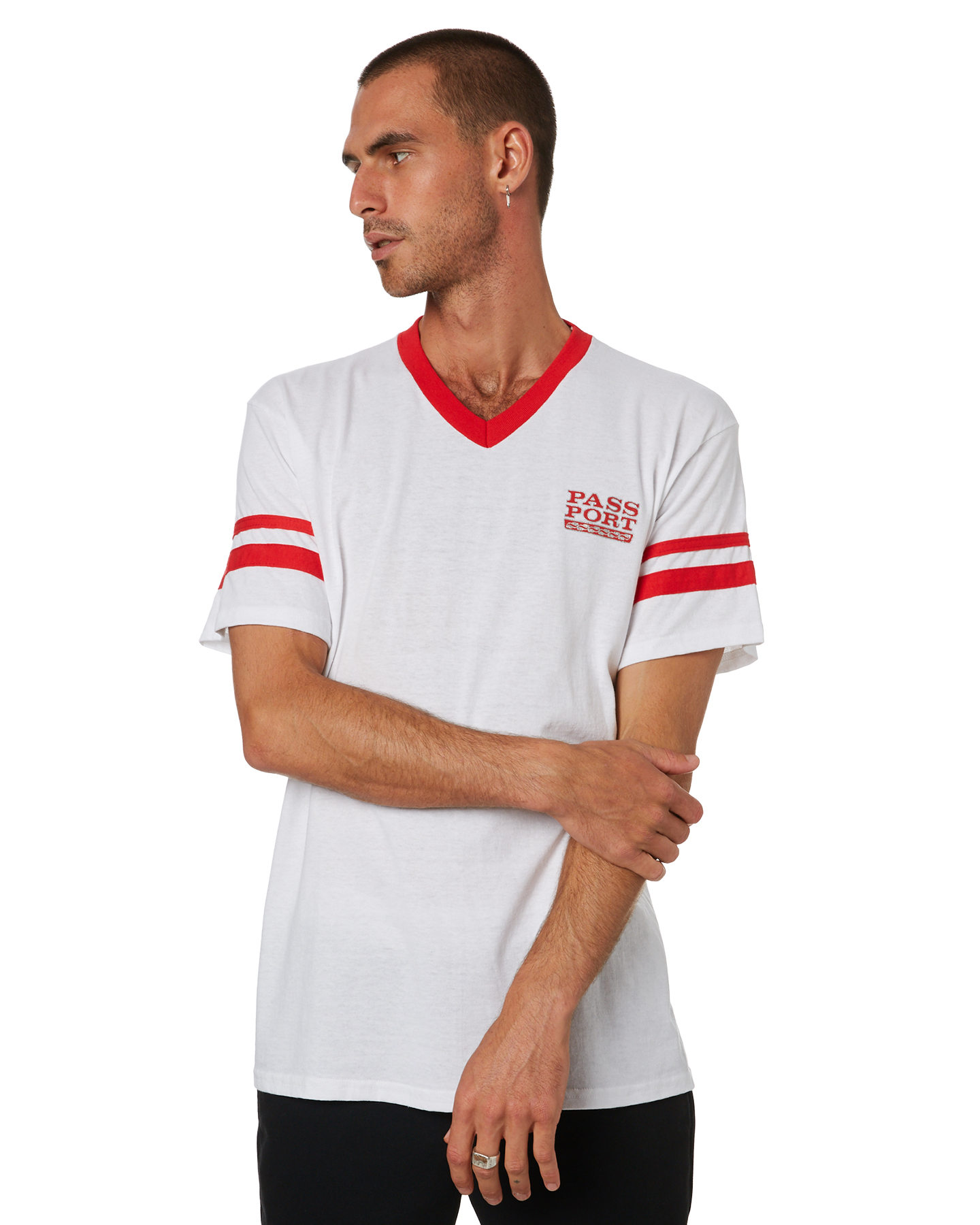 Pass Port Auto Stripes Mens Jersey White Red