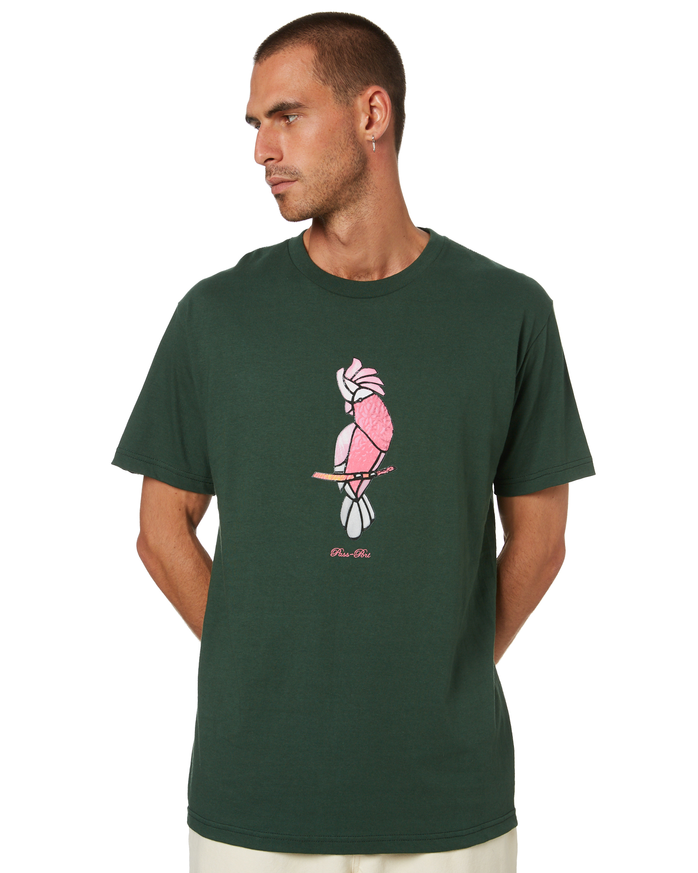 Pass Port Glass Galah Mens Tee Forest Green