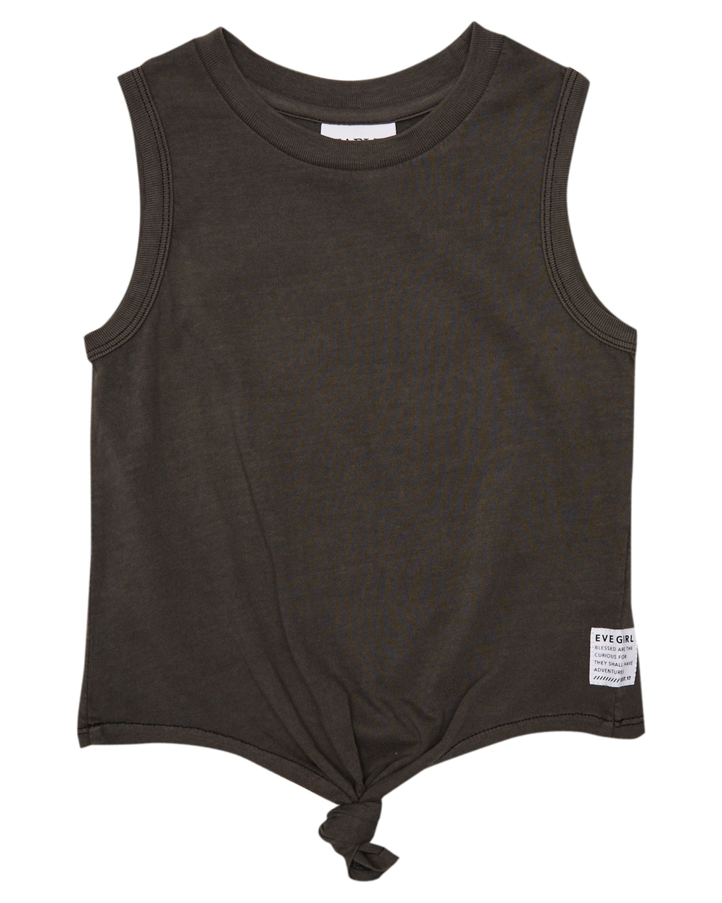 Eves Sister Girls Jersey Tie Front Tank - Kids Washed Black
