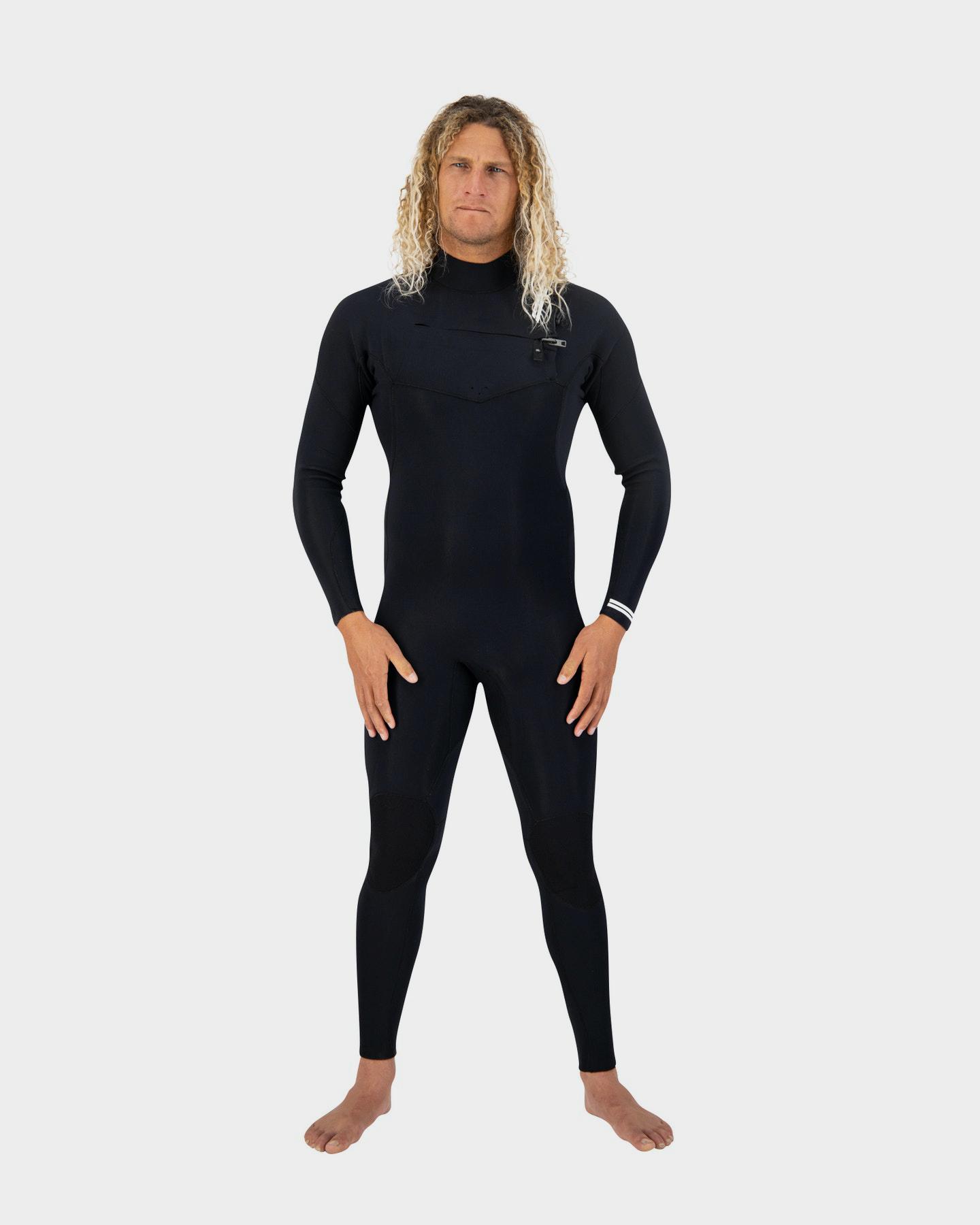 Coastlines Premium Mens 3/2 Chest Zip Steamer Black