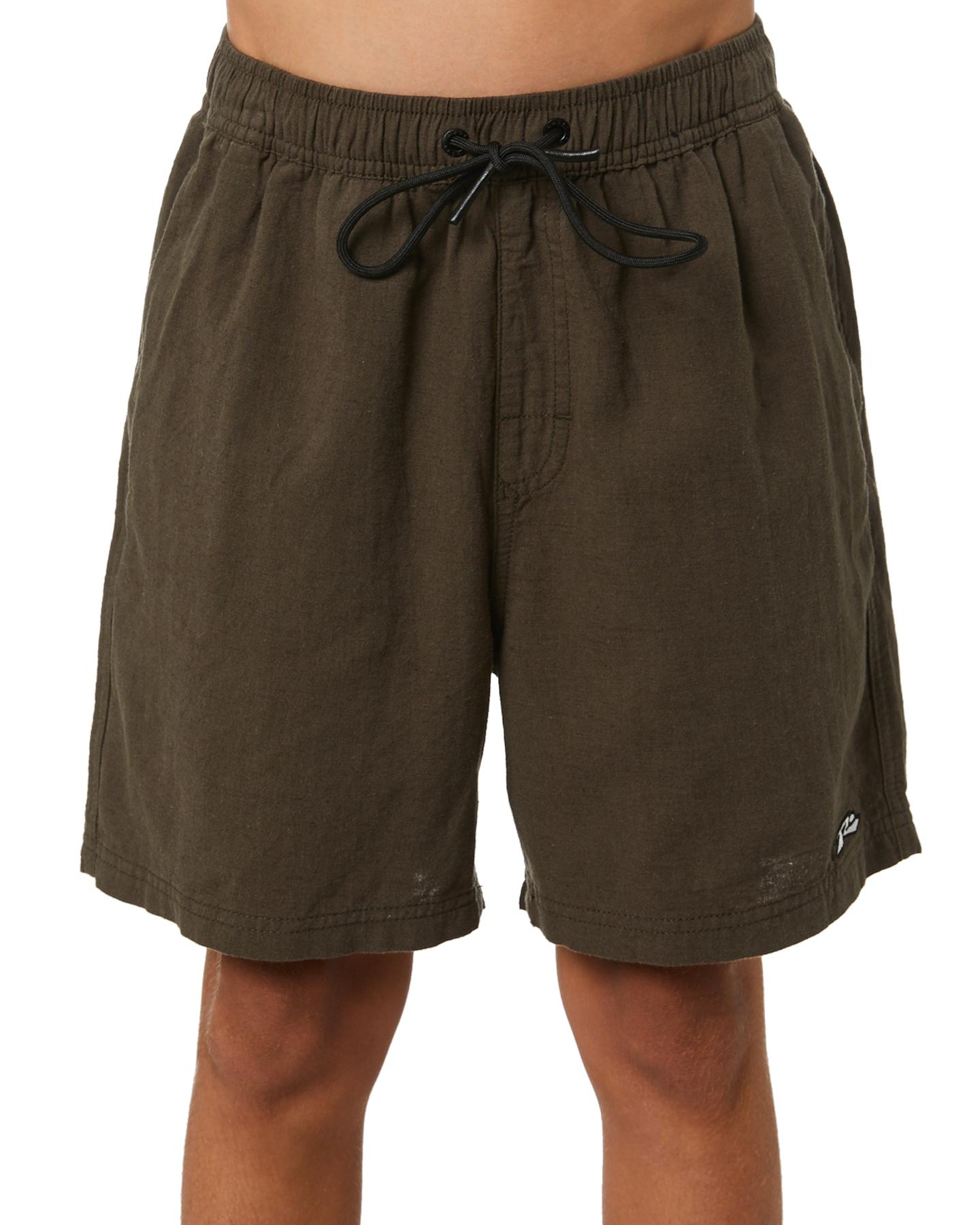 Rusty Boys Undertone Elastic Linen  Short - Teen Rifle Green