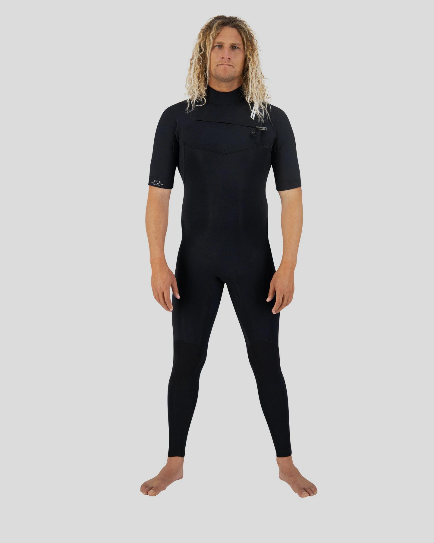Coastlines Premium Mens 2/2 Short Sleeve Chest Zip Steamer Black