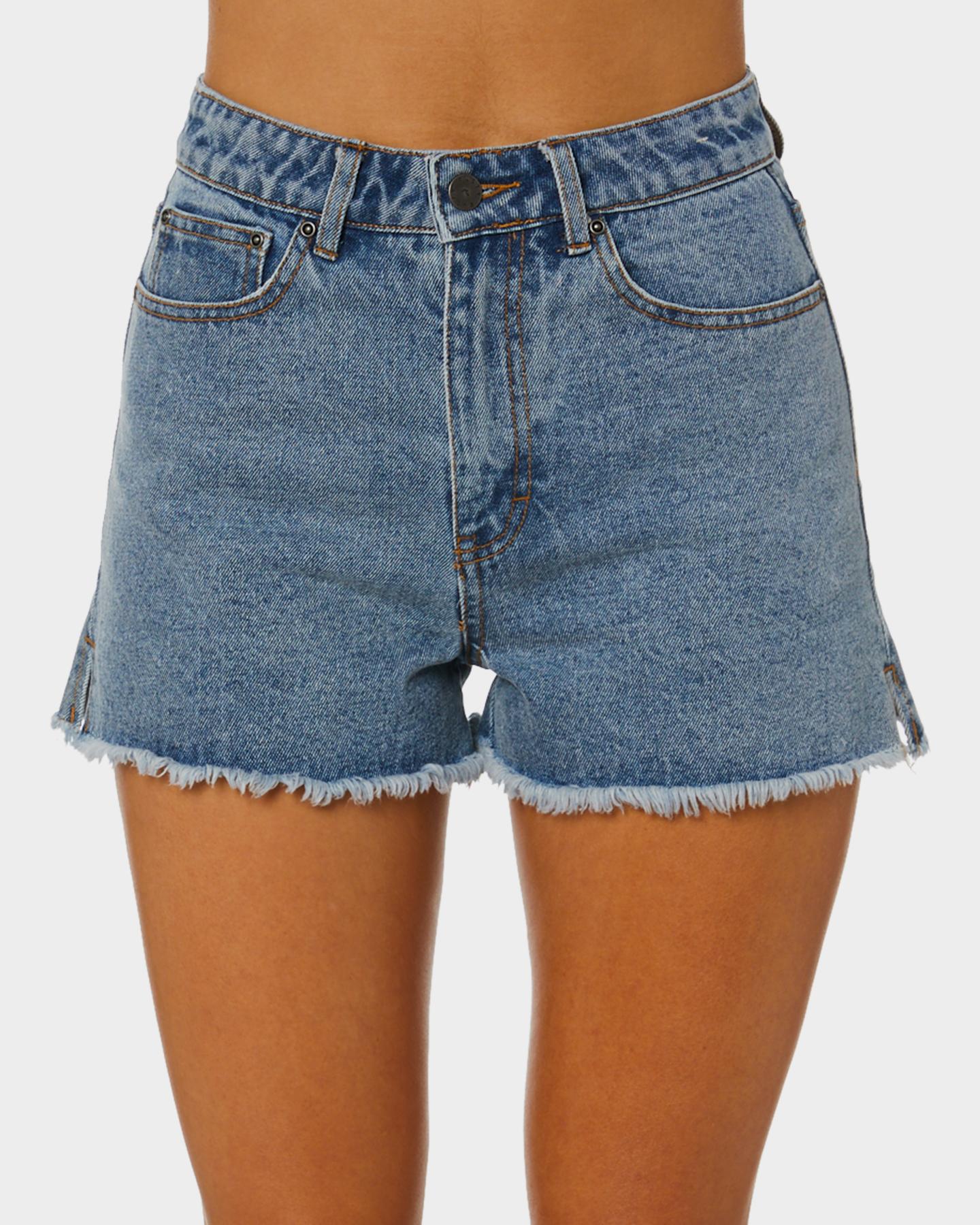 Rusty Penny Kick Flare Denim Shorts Thread Blue